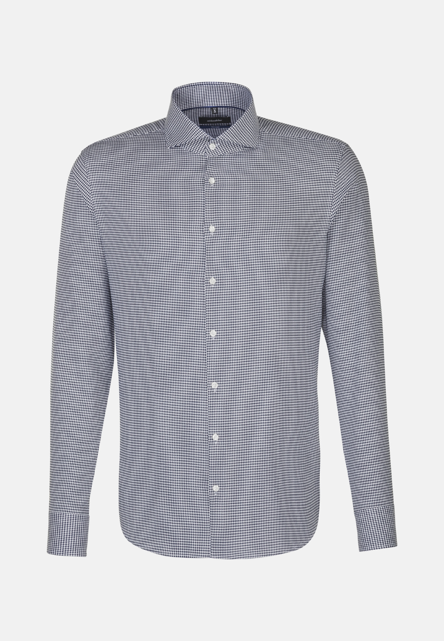 Easy-iron Pepita/tooth-peg check Business Shirt in Tailored with Shark Collar in Medium blue |  Seidensticker Onlineshop