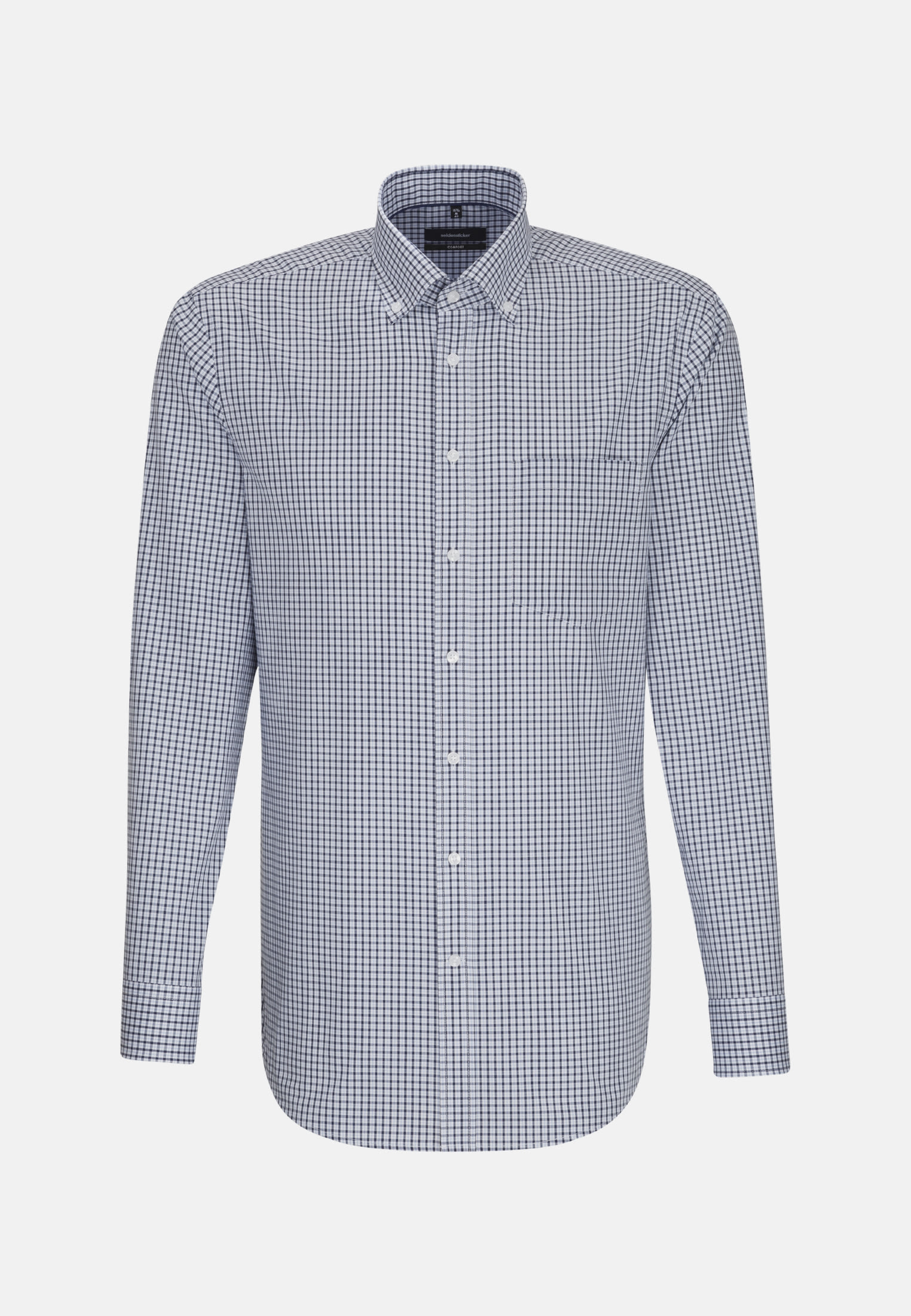 Non-iron Poplin Business Shirt in Comfort with Button-Down-Collar in Medium blue |  Seidensticker Onlineshop
