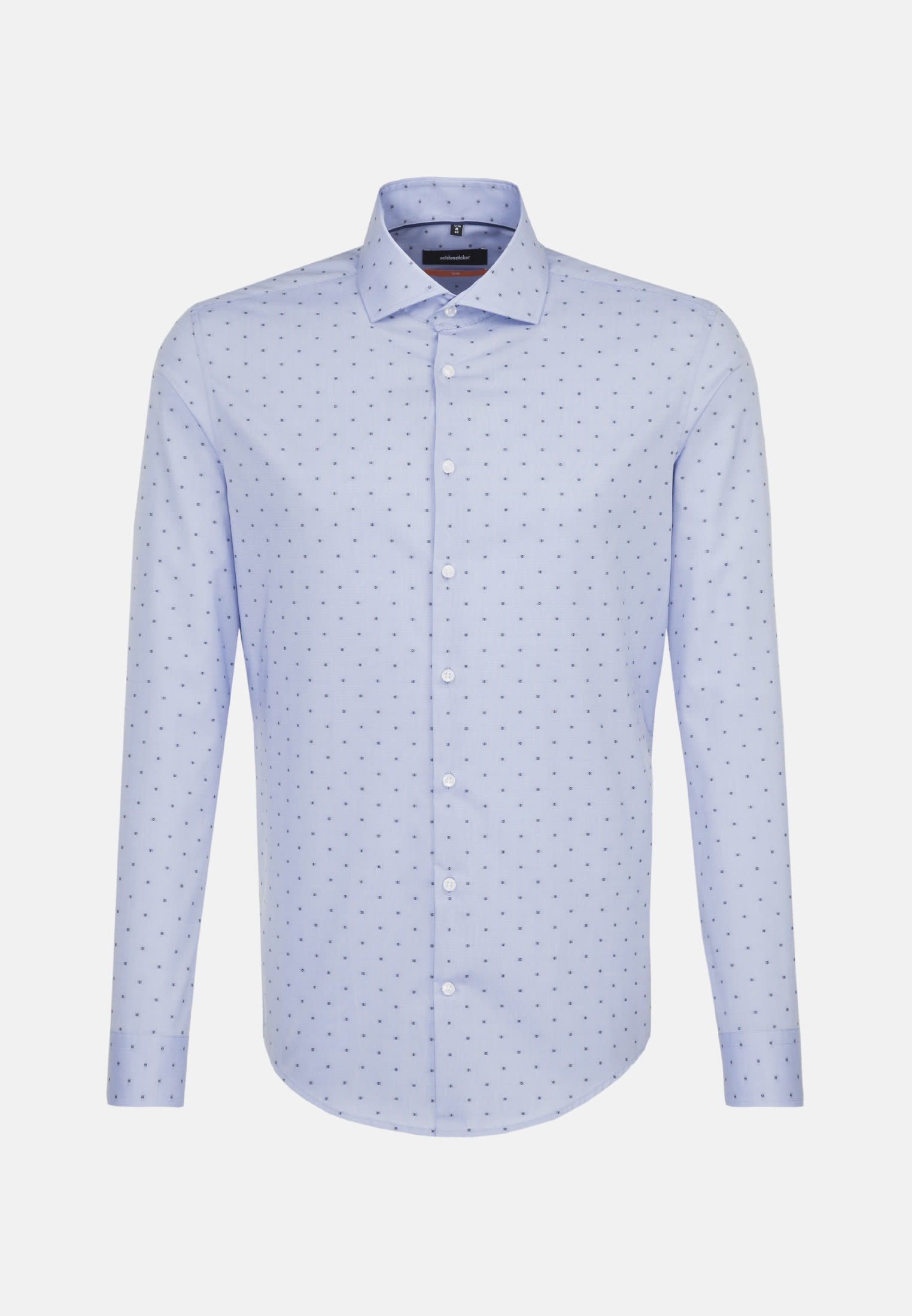 Bügelleichtes Jacquard Business Hemd in Slim mit Kentkragen in Mittelblau |  Seidensticker Onlineshop