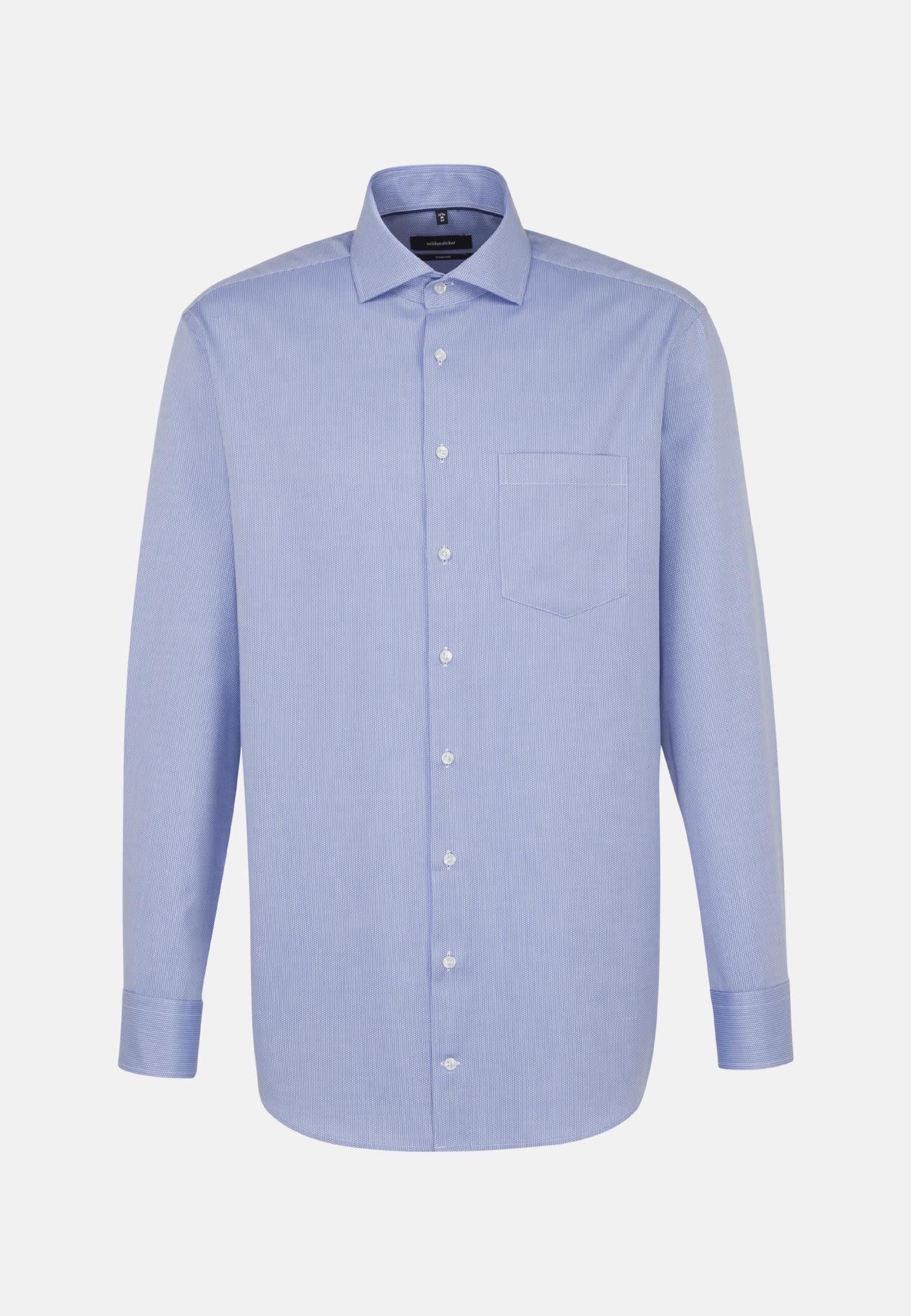 Easy-iron Structure Business Shirt in Comfort with Kent-Collar in Medium blue    Seidensticker Onlineshop