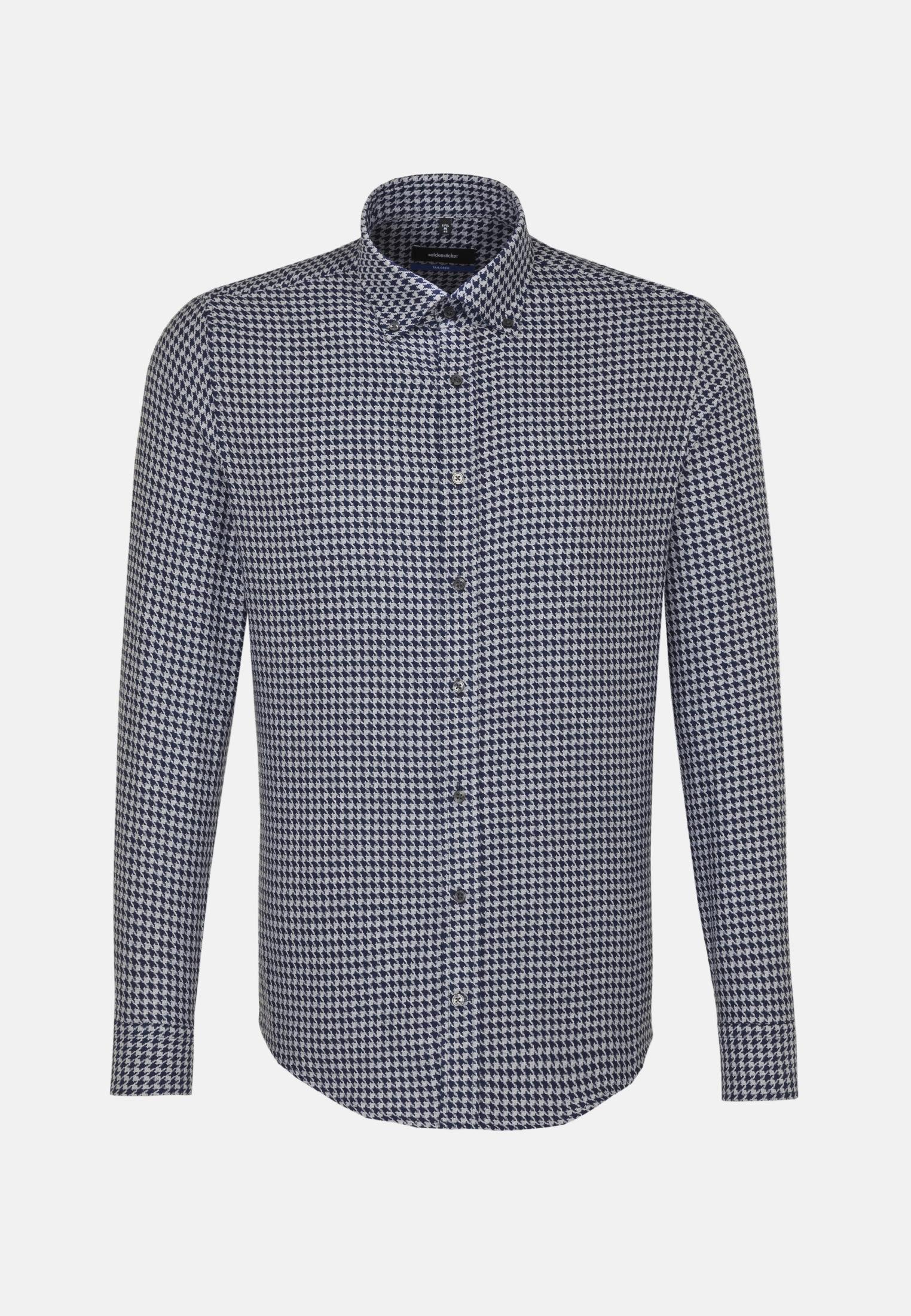 Bügelleichtes Hahnentritt Business Hemd in Shaped mit Button-Down-Kragen in Dunkelblau |  Seidensticker Onlineshop