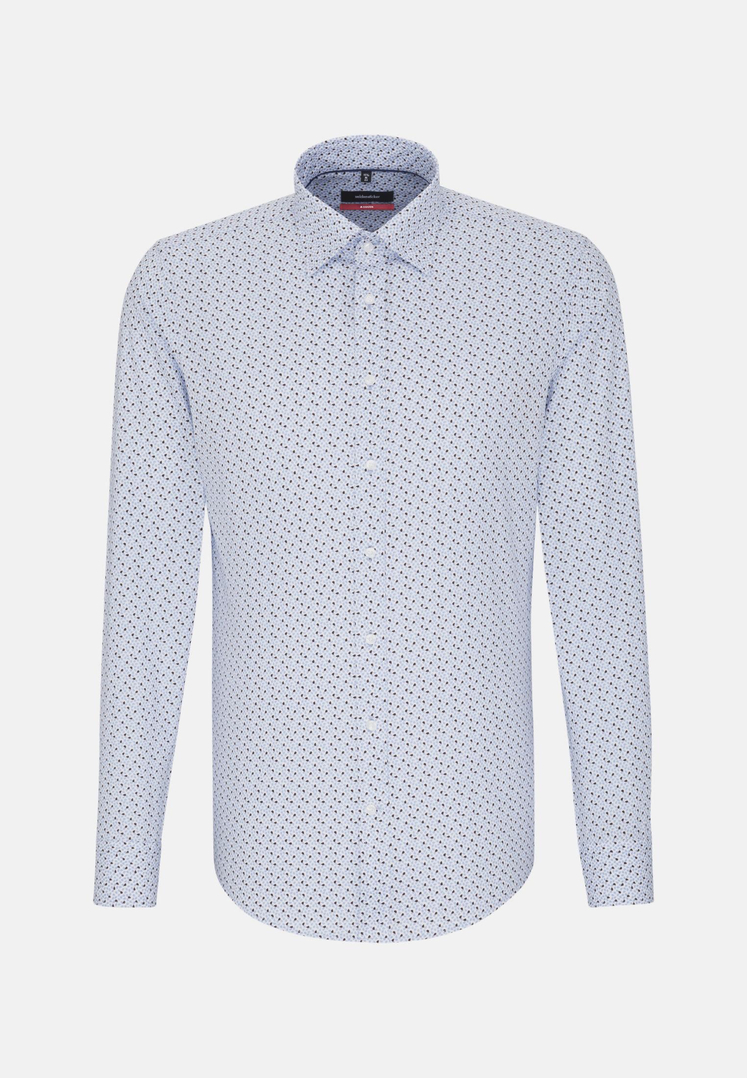 Easy-iron Poplin Business Shirt in Regular with Covered-Button-Down-Collar in Light blue |  Seidensticker Onlineshop