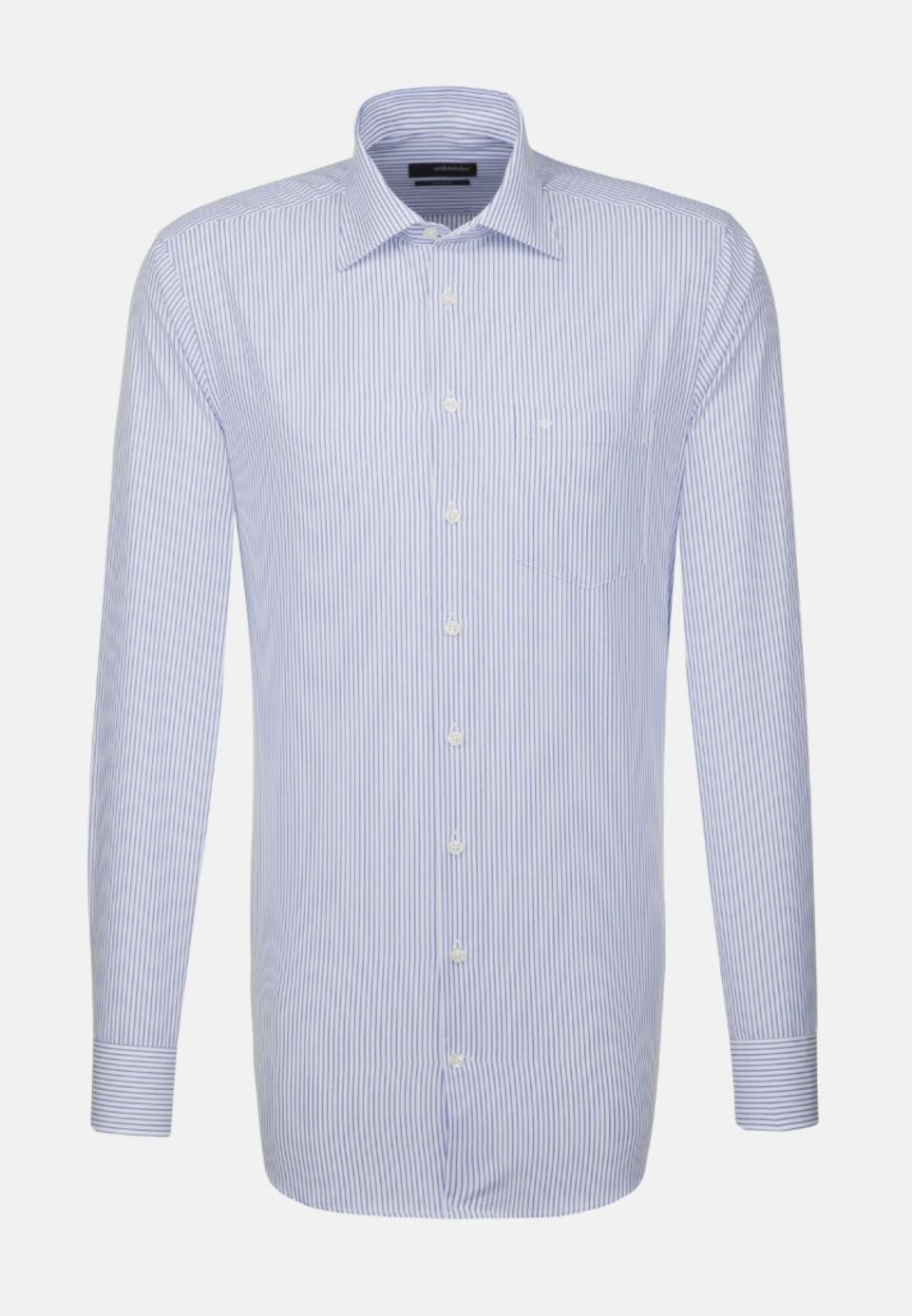 Non-iron Poplin Business Shirt in Modern with Kent-Collar and extra long arm in Medium blue |  Seidensticker Onlineshop