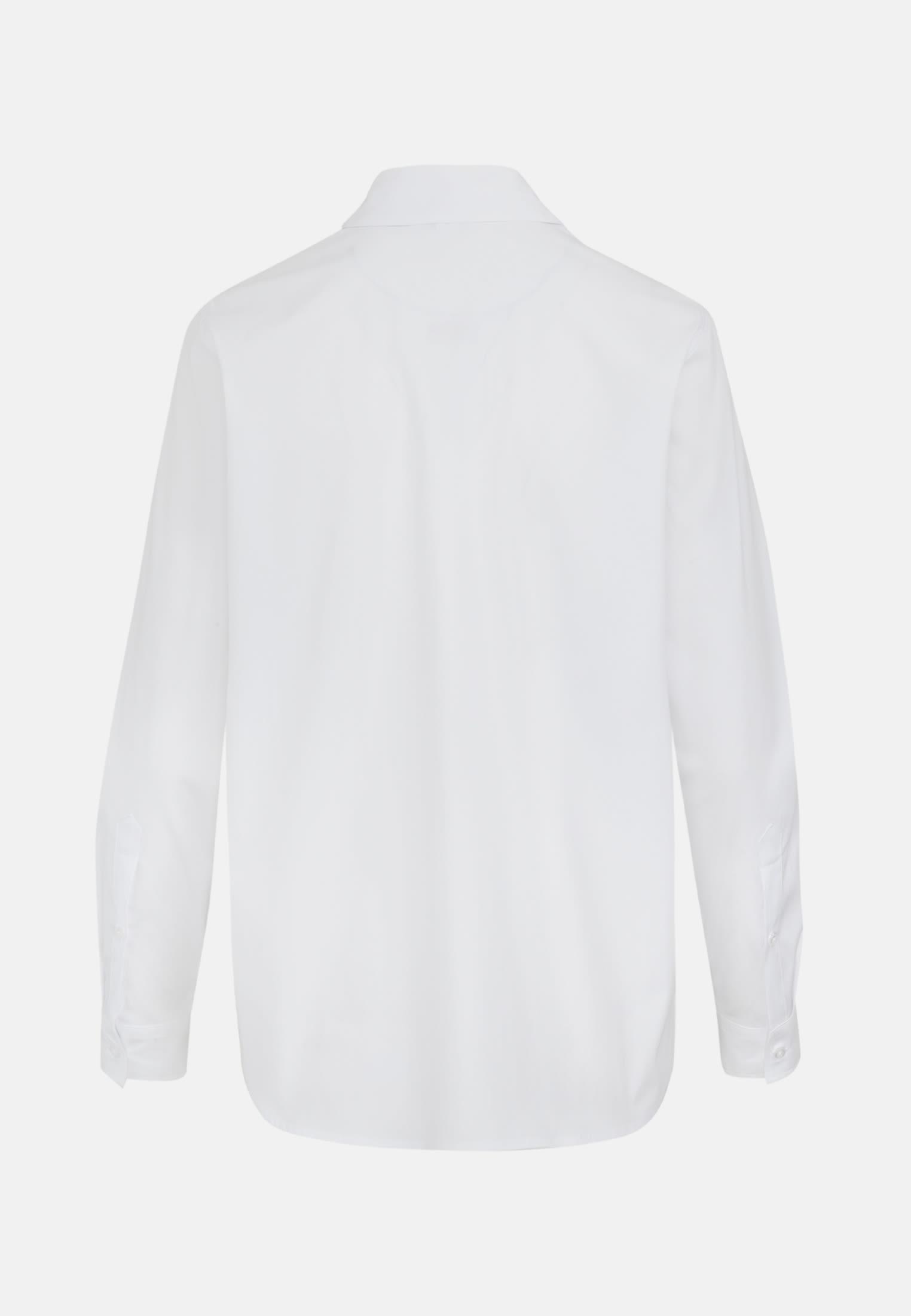 Popeline Hemdbluse aus 81% Baumwolle 16% Polyamid/Nylon 3% Elastan in Weiß |  Seidensticker Onlineshop