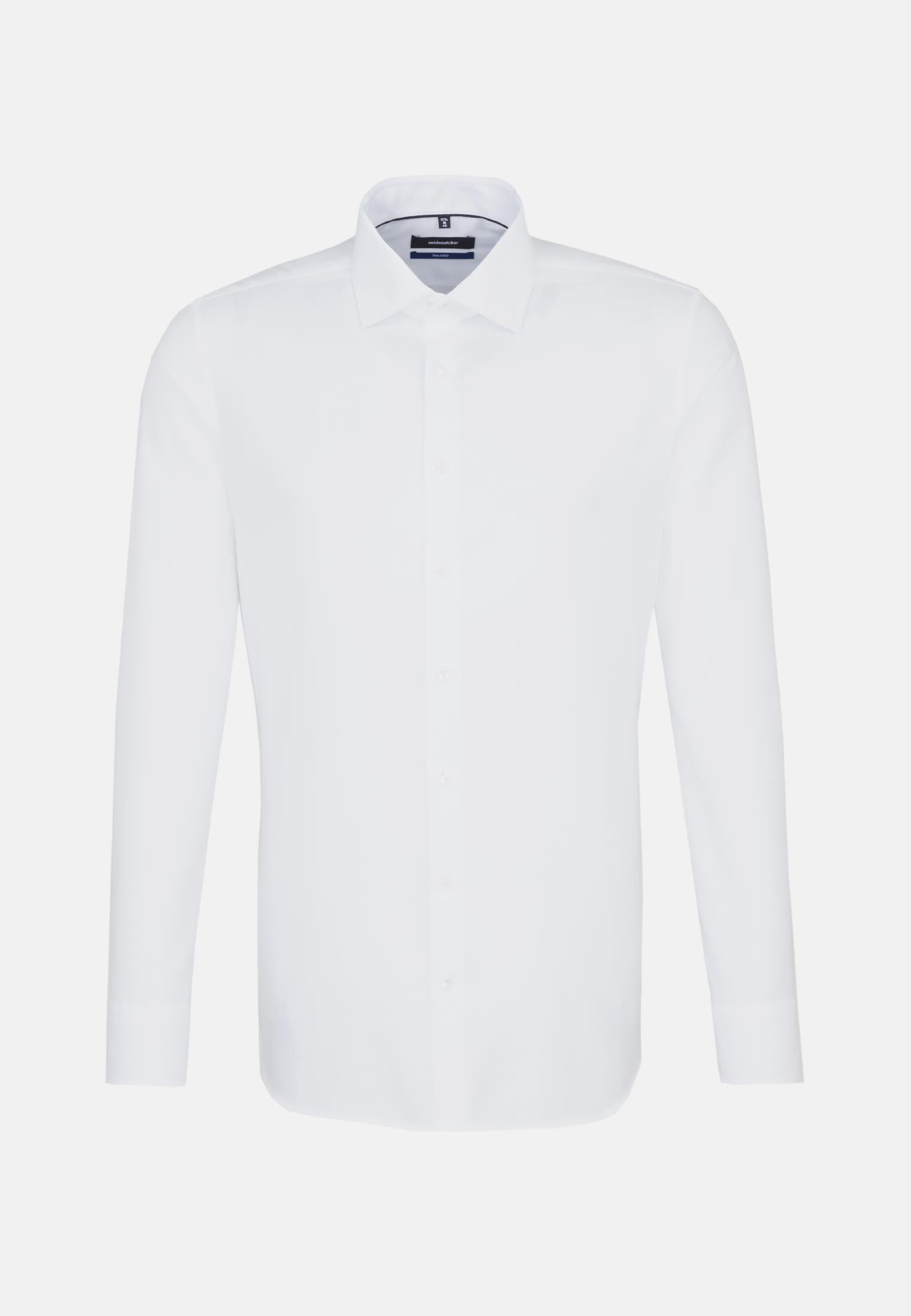 Bügelfreies Struktur Business Hemd in Shaped mit Kentkragen und extra langem Arm in Weiß |  Seidensticker Onlineshop