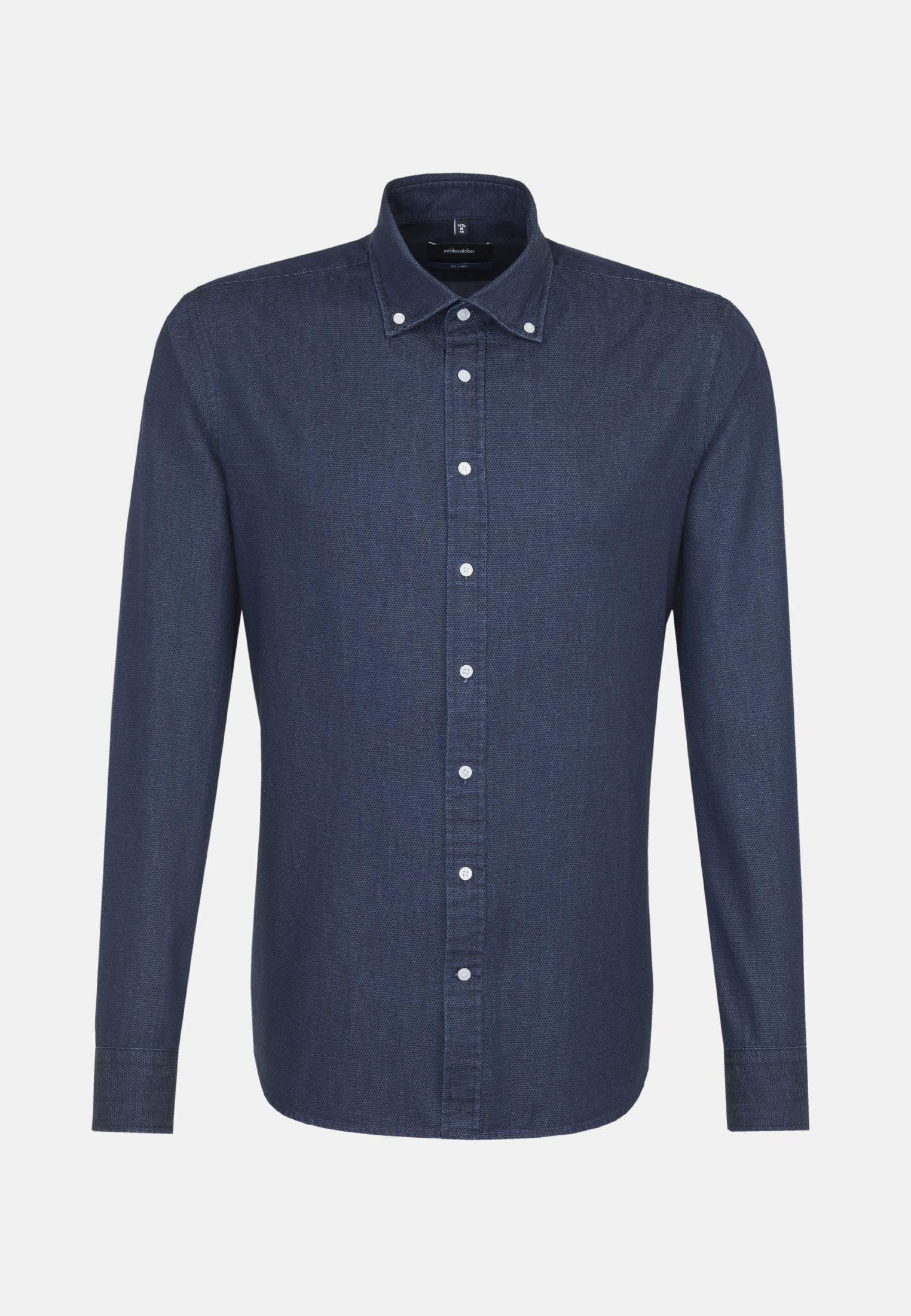 Easy-iron Denim Business Shirt in Tailored with Button-Down-Collar in Dark blue |  Seidensticker Onlineshop