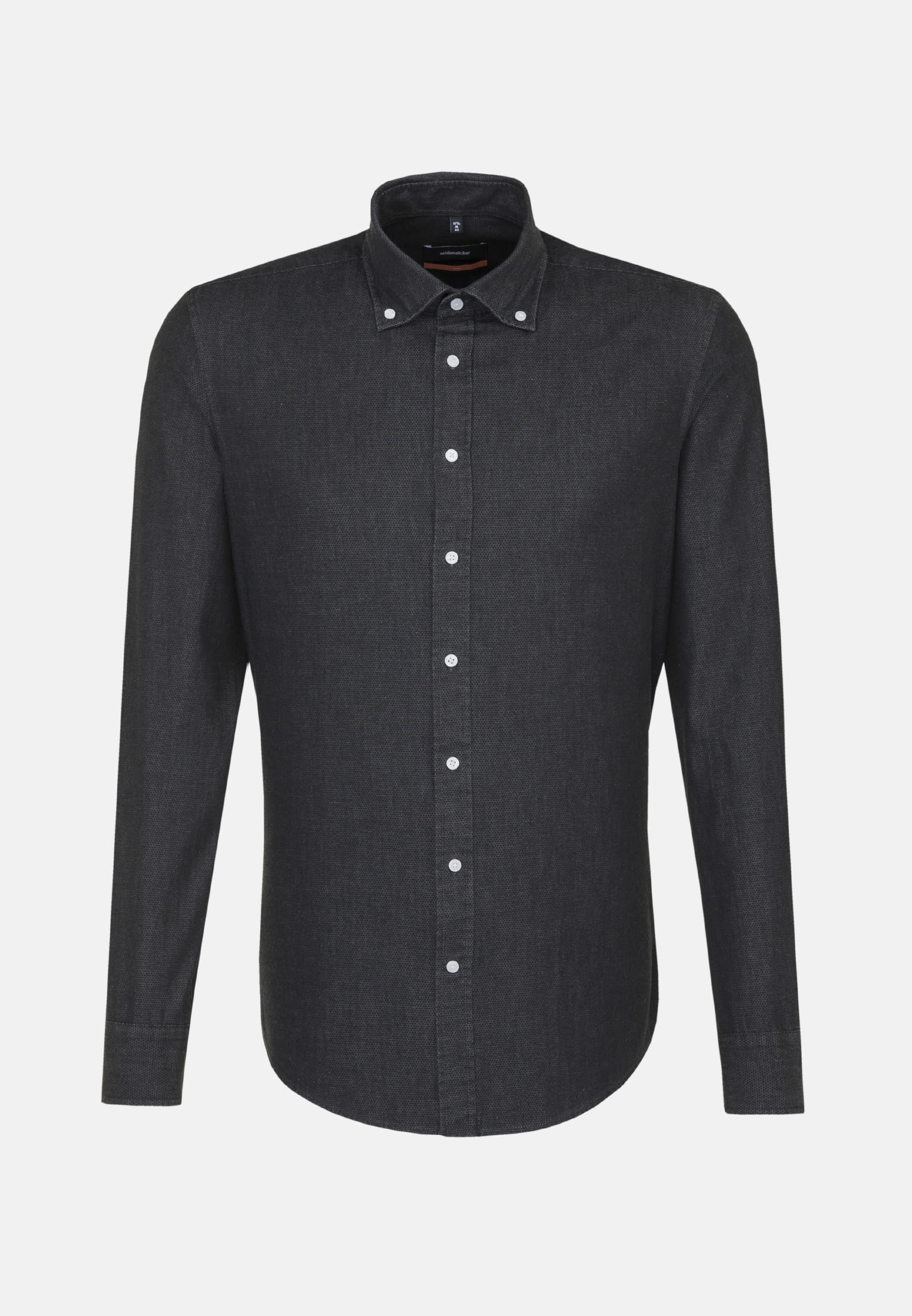 Easy-iron Denim Business Shirt in Slim with Button-Down-Collar in Black |  Seidensticker Onlineshop