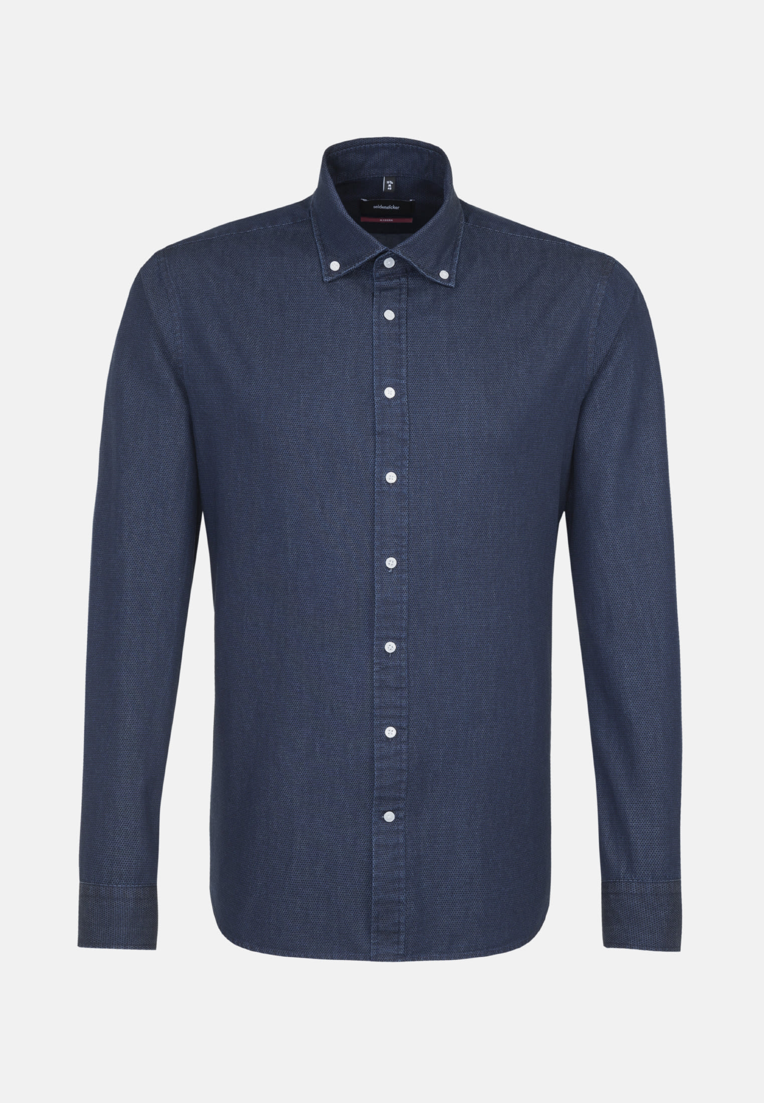 Easy-iron Denim Business Shirt in Modern with Button-Down-Collar in Dark blue |  Seidensticker Onlineshop