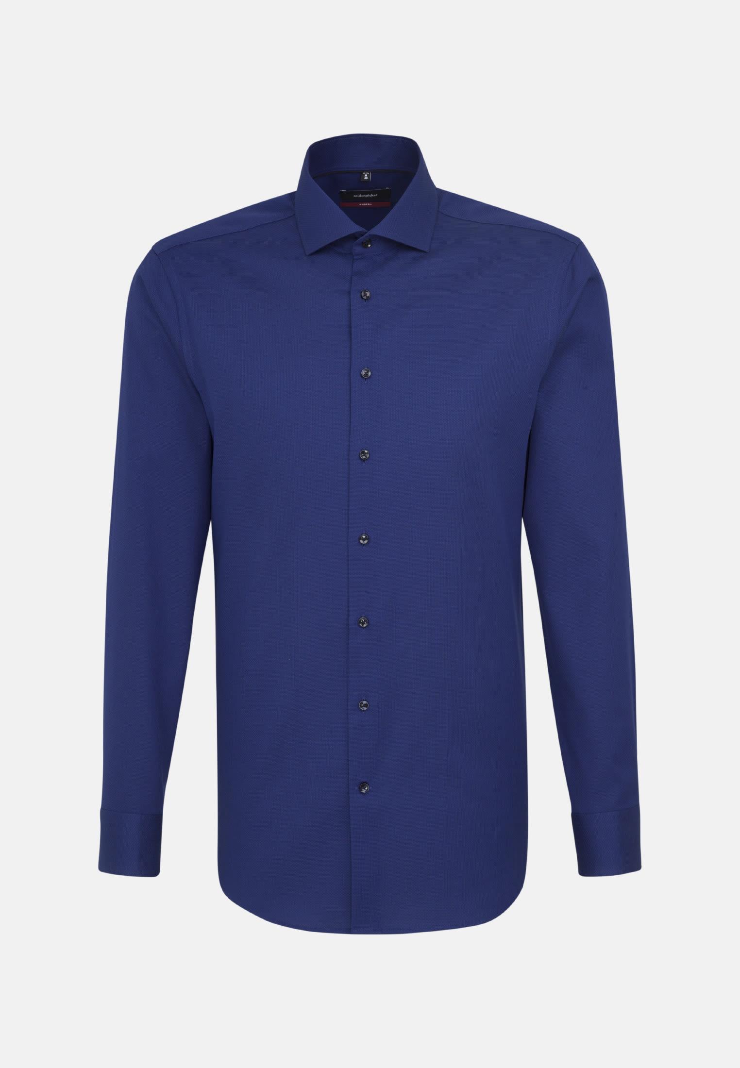 Easy-iron Structure Business Shirt in Regular with Kent-Collar in Medium blue |  Seidensticker Onlineshop