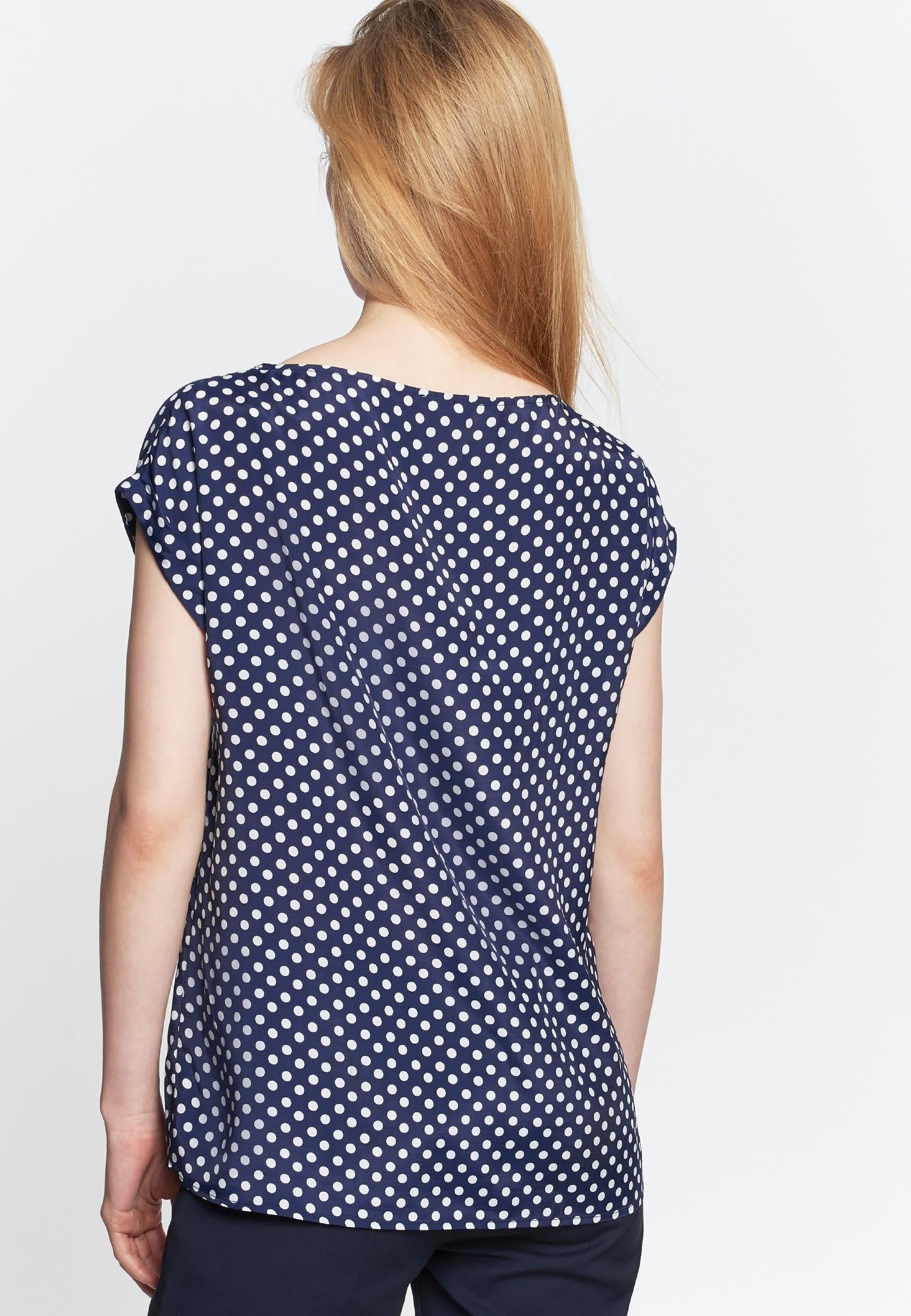 Ärmellose Voile Shirtbluse aus 100% Viskose in Dunkelblau |  Seidensticker Onlineshop