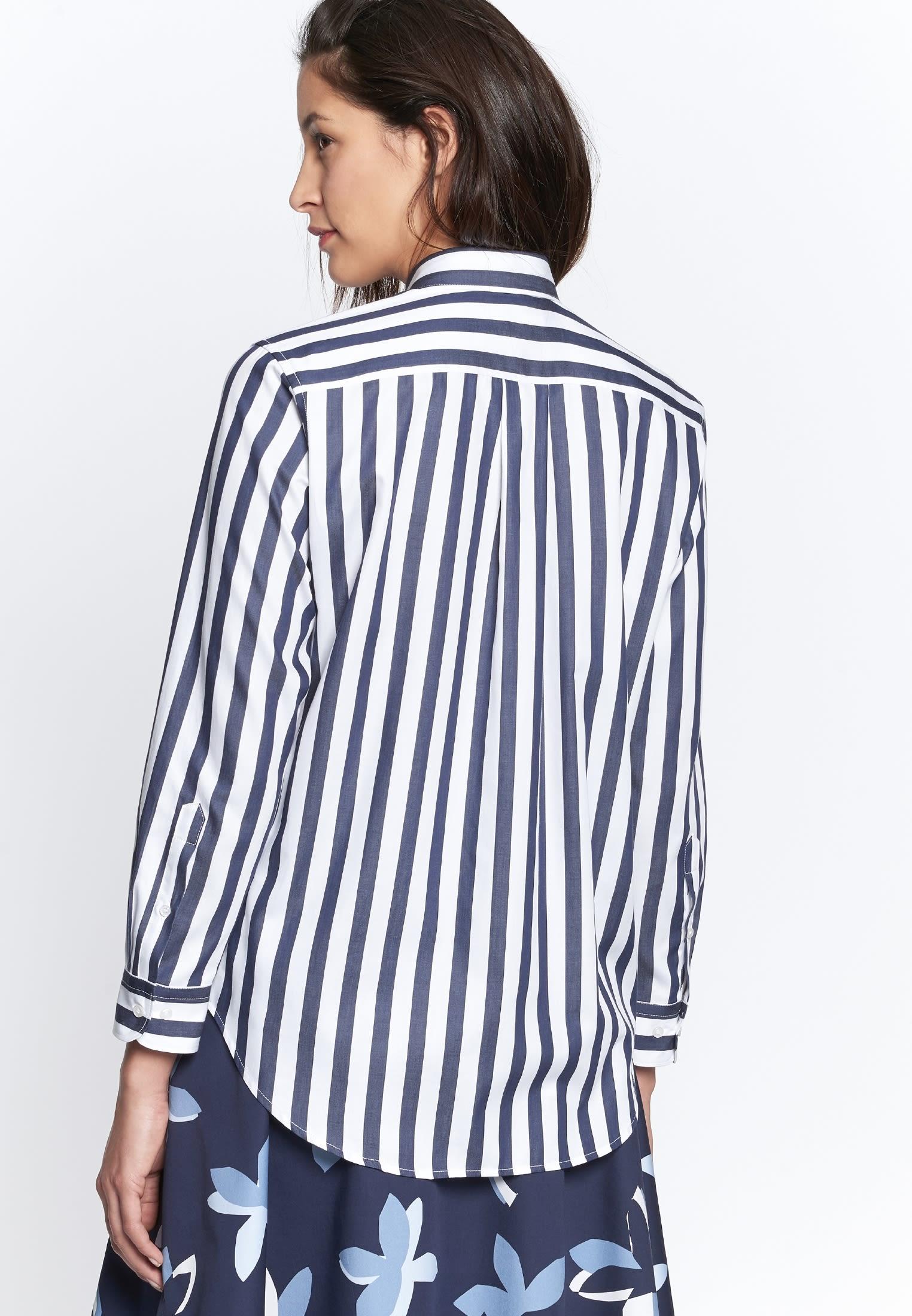 Satin Shirt Blouse made of 100% Cotton in Dark blue |  Seidensticker Onlineshop