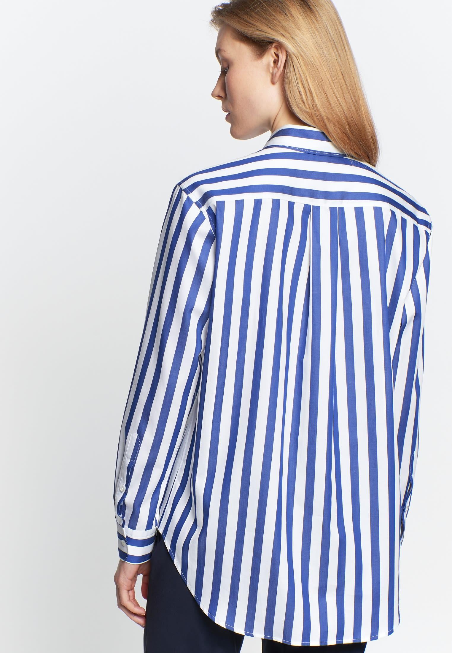 Satin Shirt Blouse made of 100% Cotton in blau |  Seidensticker Onlineshop