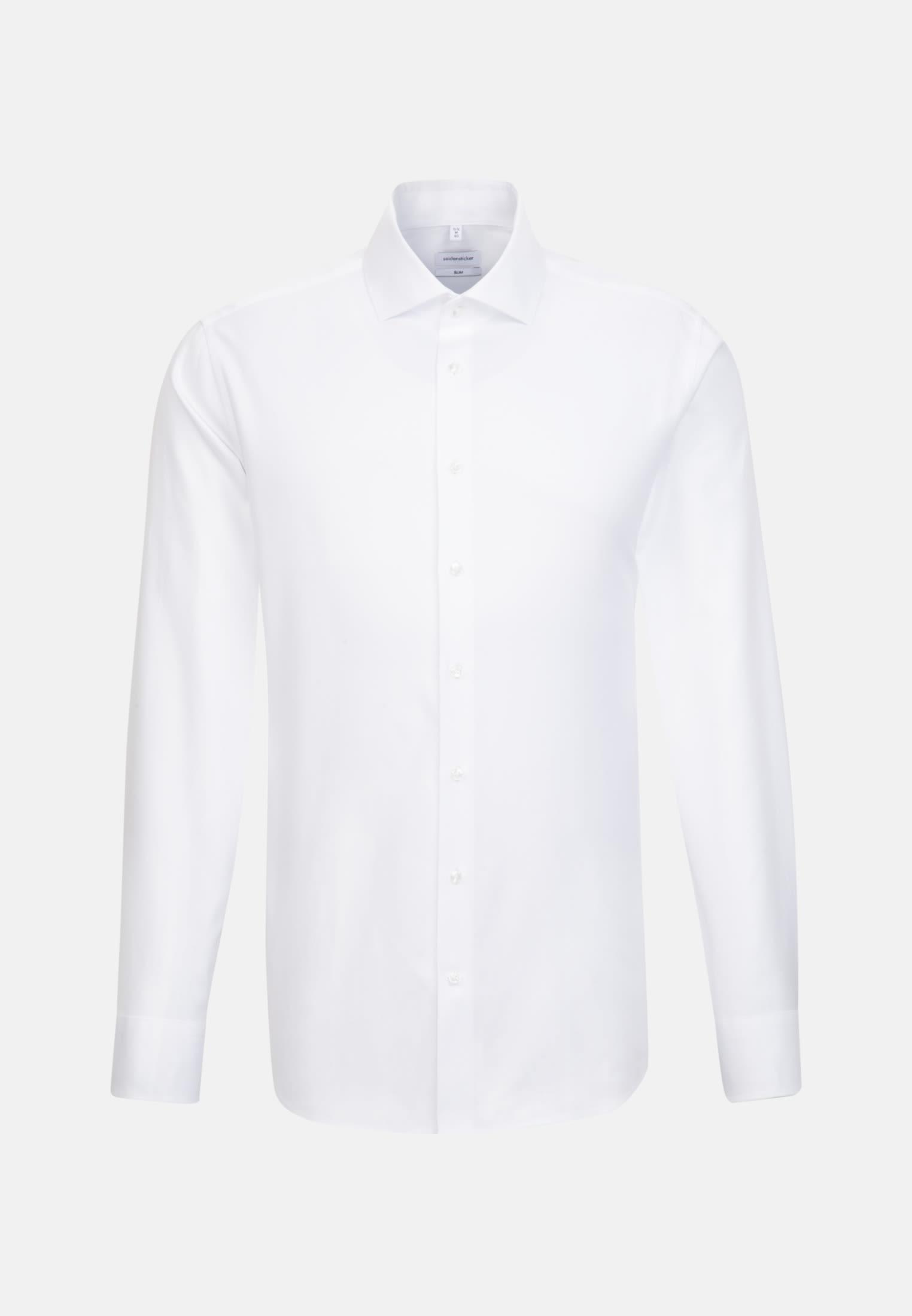 Bügelleichtes Twill Business Hemd in Slim mit Kentkragen in Weiß |  Seidensticker Onlineshop