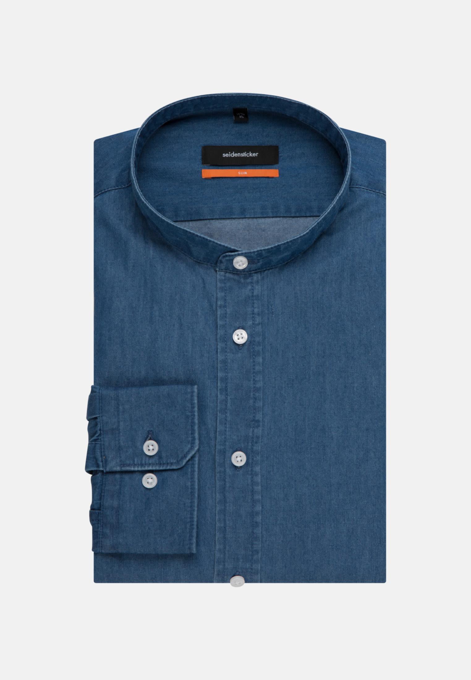 Bügelleichtes Denim Business Hemd in Slim mit Stehkragen in Mittelblau |  Seidensticker Onlineshop