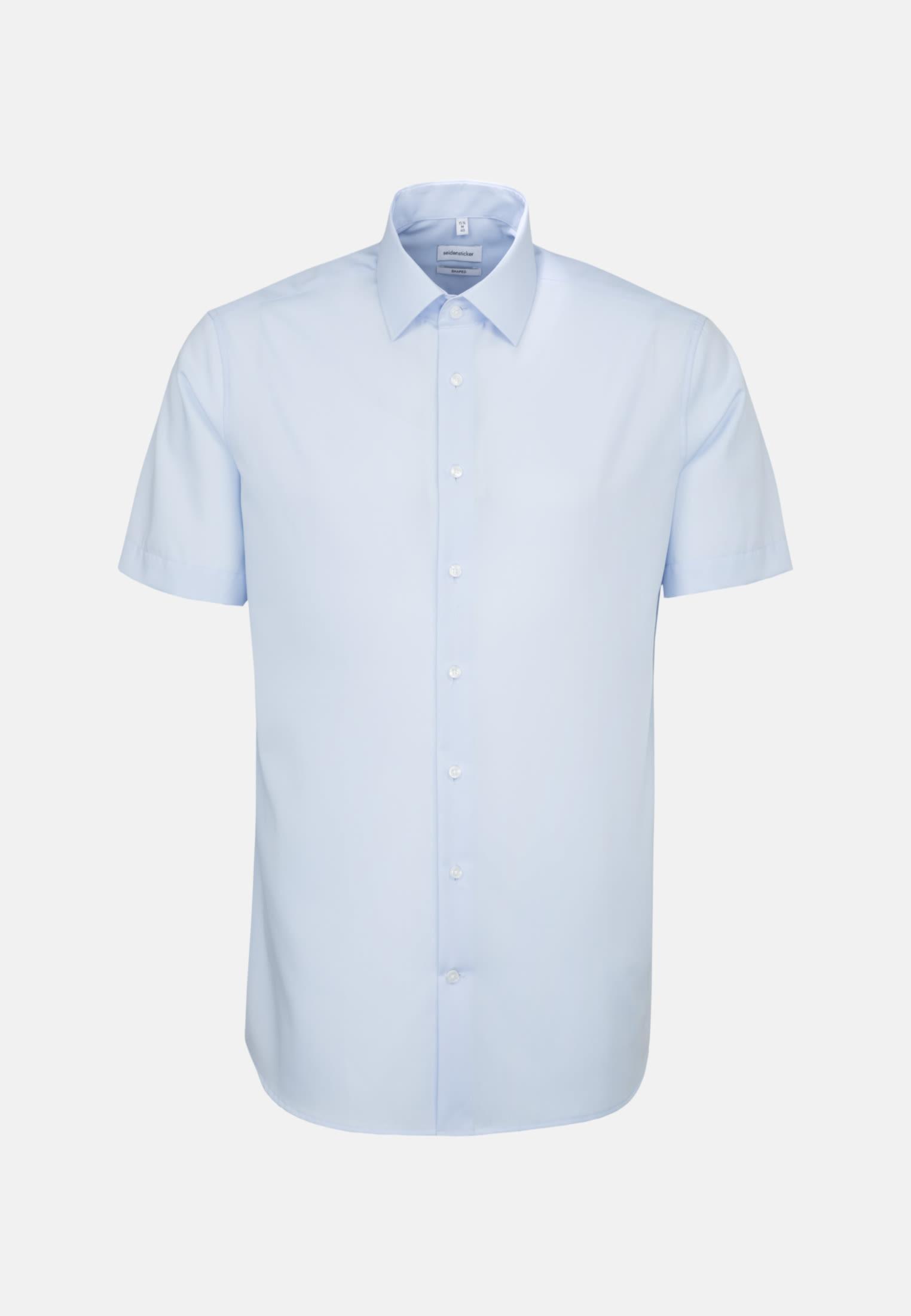 Bügelfreies Popeline Kurzarm Business Hemd in Shaped mit Kentkragen in Mittelblau |  Seidensticker Onlineshop