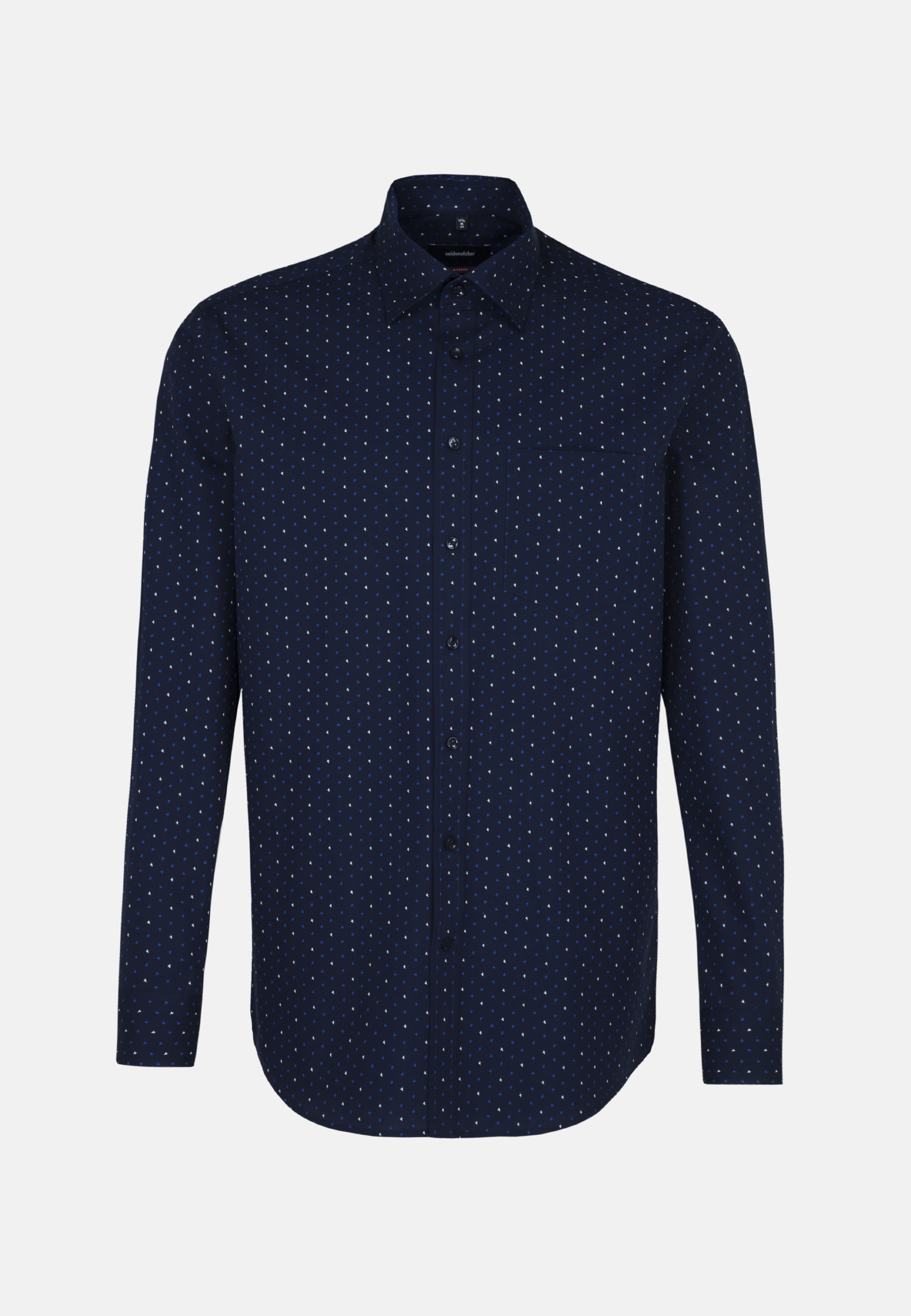 Easy-iron Poplin Business Shirt in Modern with Covered-Button-Down-Collar in blau |  Seidensticker Onlineshop