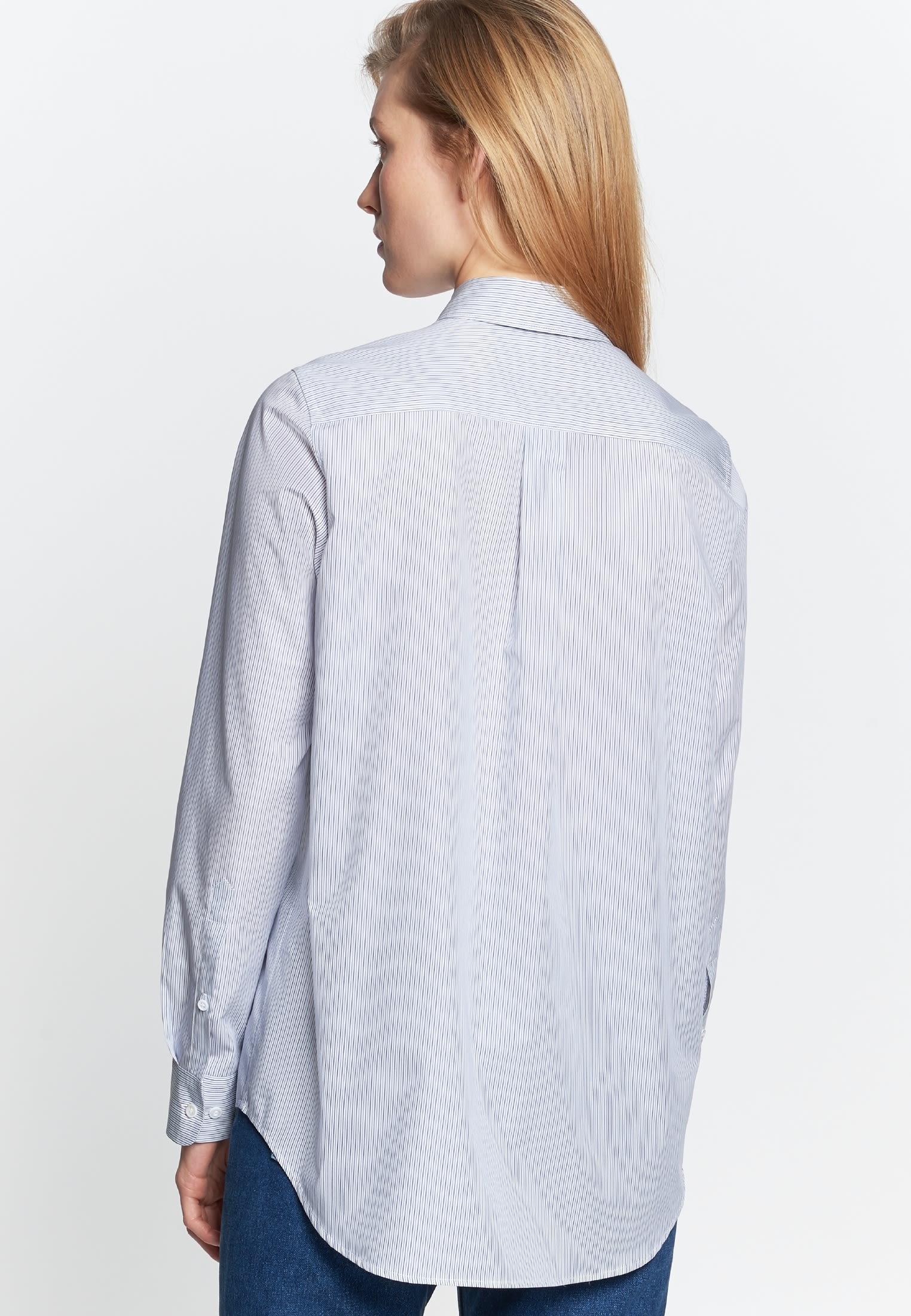 Popeline Hemdbluse aus 100% Baumwolle in Mittelblau |  Seidensticker Onlineshop