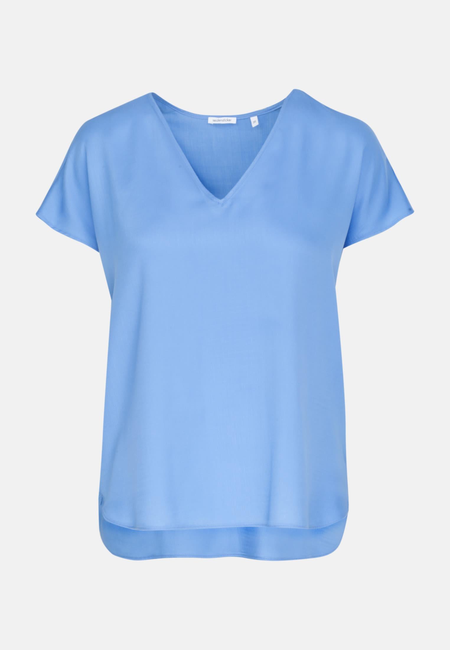 Kurzarm Popeline Shirtbluse aus 100% Viskose in Mittelblau    Seidensticker Onlineshop