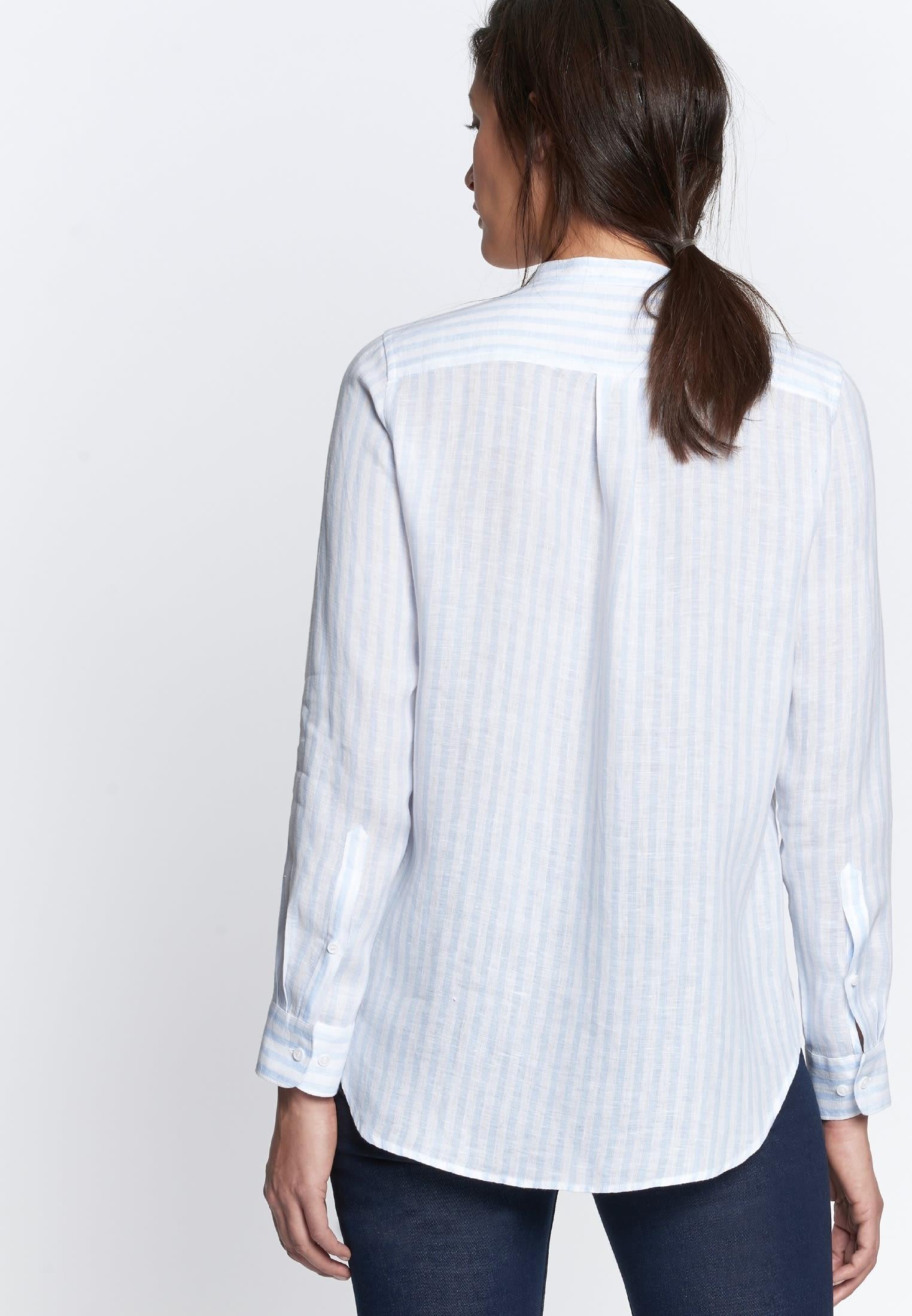 Linen Stand-Up Blouse made of 100% Linen in Light blue |  Seidensticker Onlineshop