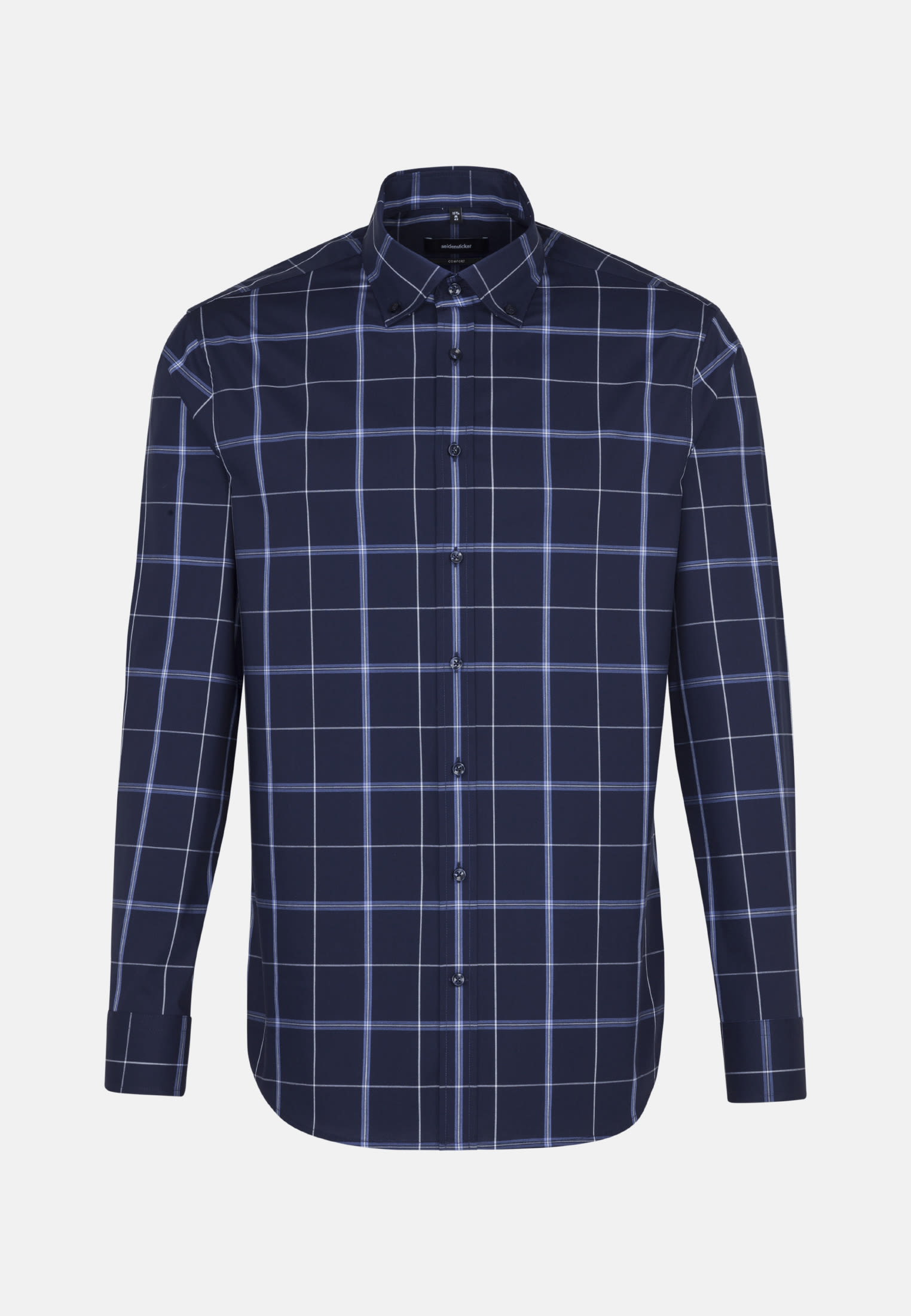 Non-iron Poplin Business Shirt in Comfort with Button-Down-Collar in Dark blue |  Seidensticker Onlineshop