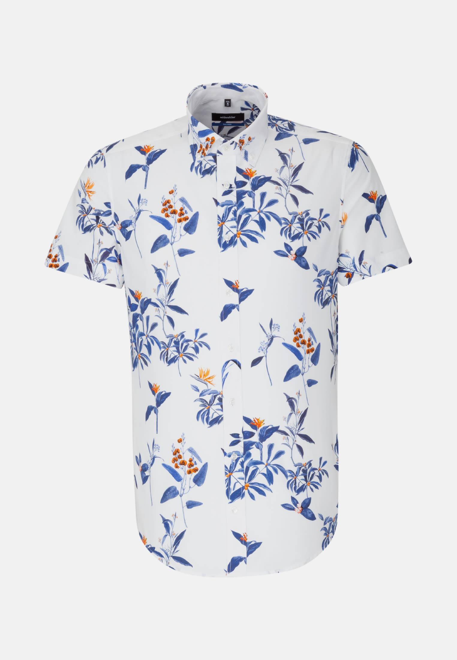 Bügelleichtes Popeline Kurzarm Business Hemd in Tailored mit Button-Down-Kragen in Dunkelblau |  Seidensticker Onlineshop