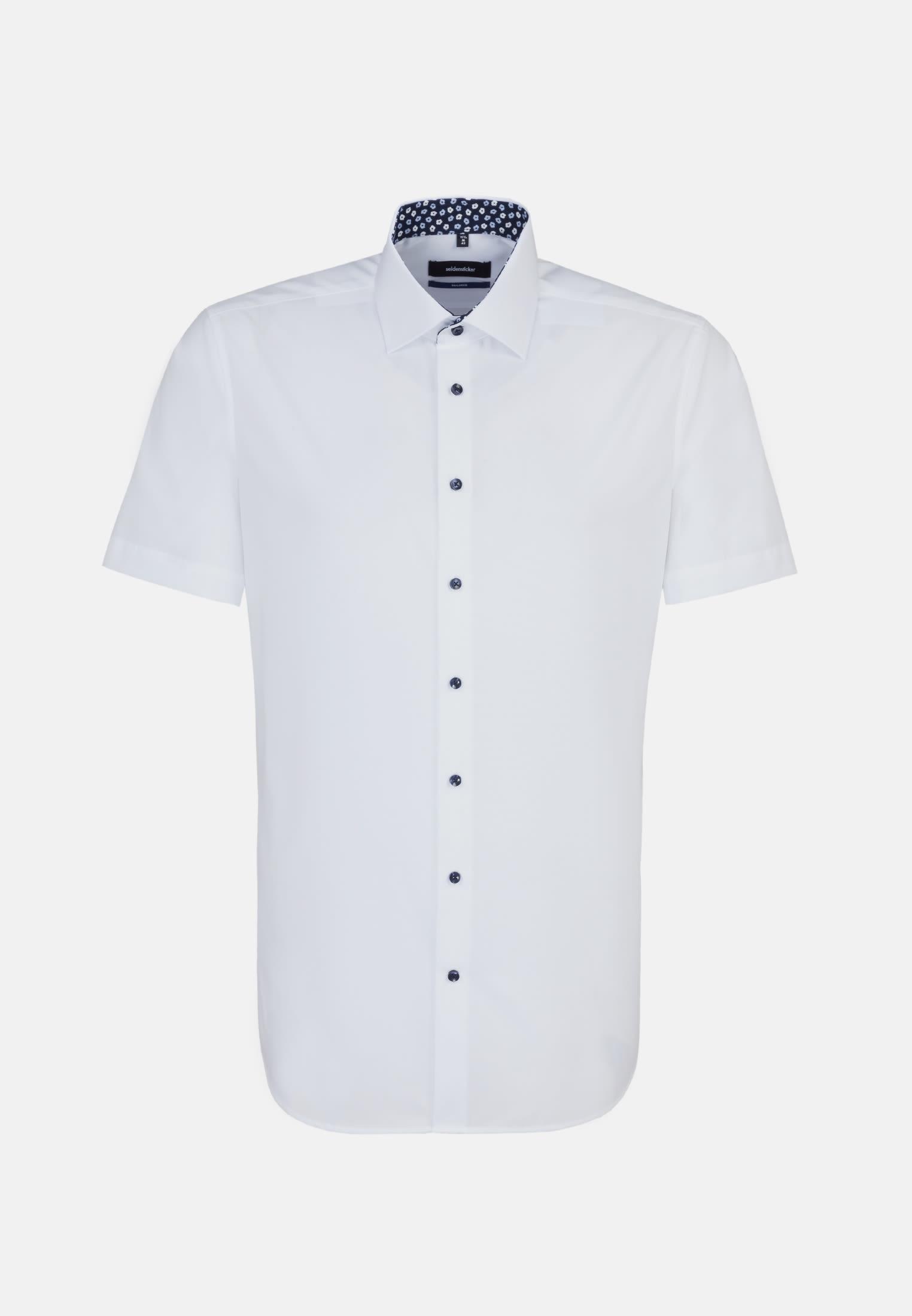 Non-iron Poplin Short arm Business Shirt in Tailored with Kent-Collar in weiß |  Seidensticker Onlineshop