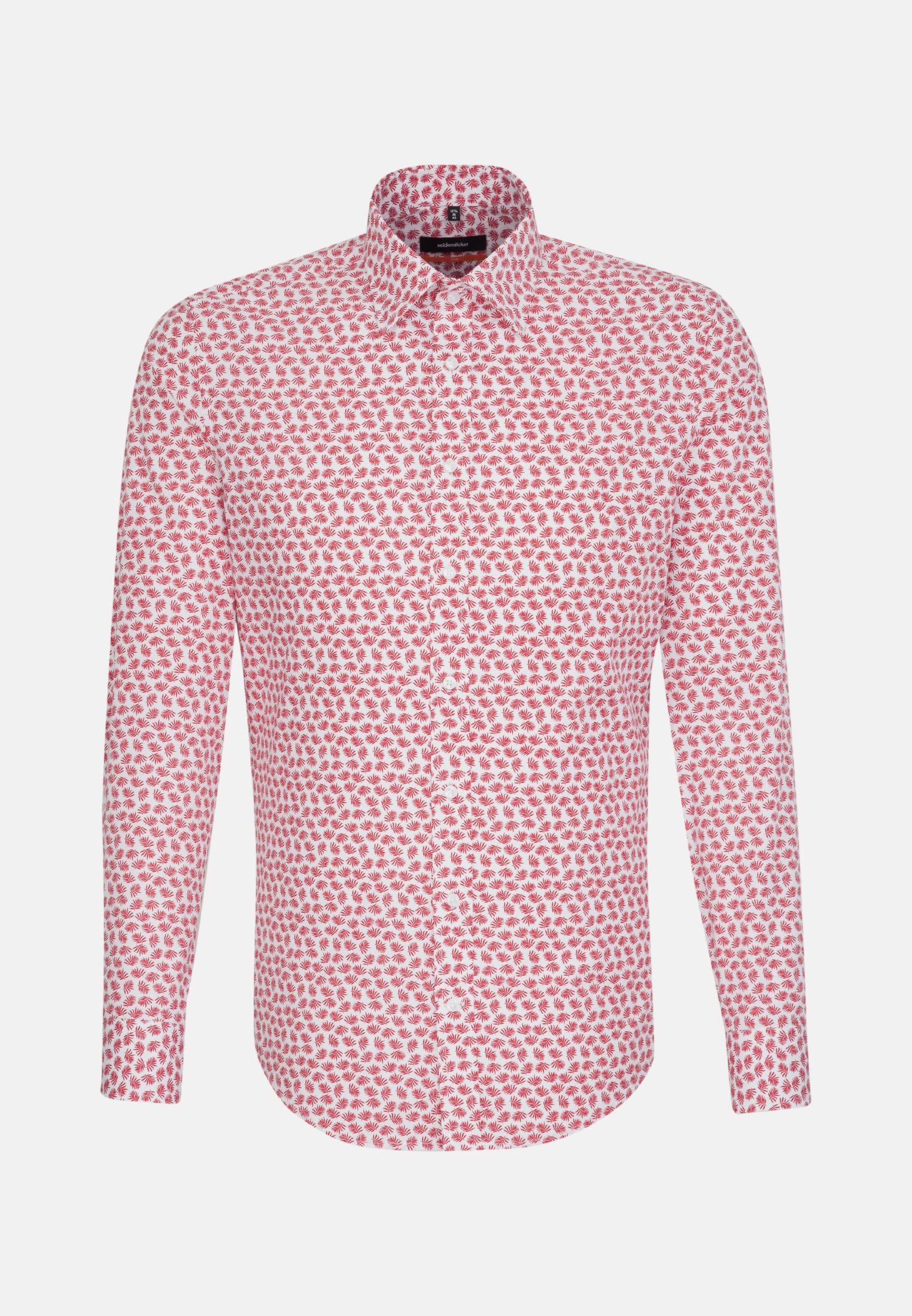 Bügelleichtes Popeline Business Hemd in Slim mit Covered-Button-Down-Kragen in Rot |  Seidensticker Onlineshop