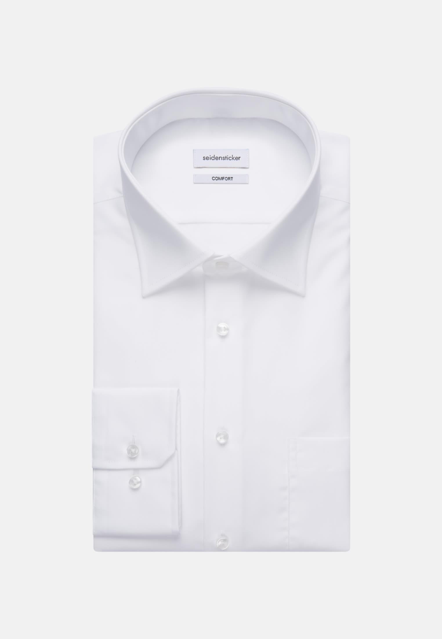 Non-iron Poplin Business Shirt in Comfort with Kent-Collar in White |  Seidensticker Onlineshop