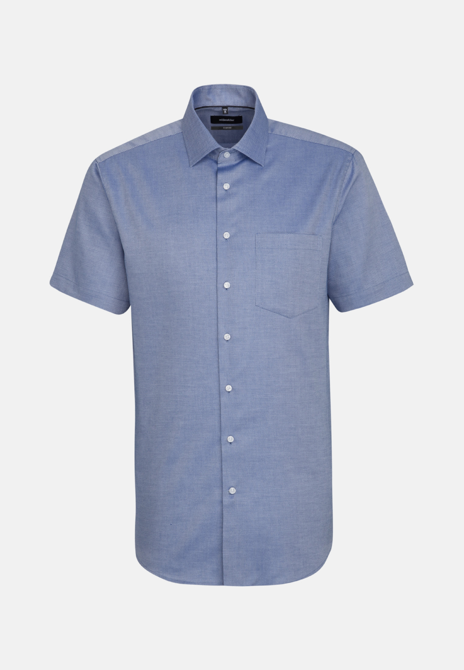 Non-iron Structure Short sleeve Business Shirt in Comfort with Kent-Collar in Medium blue |  Seidensticker Onlineshop