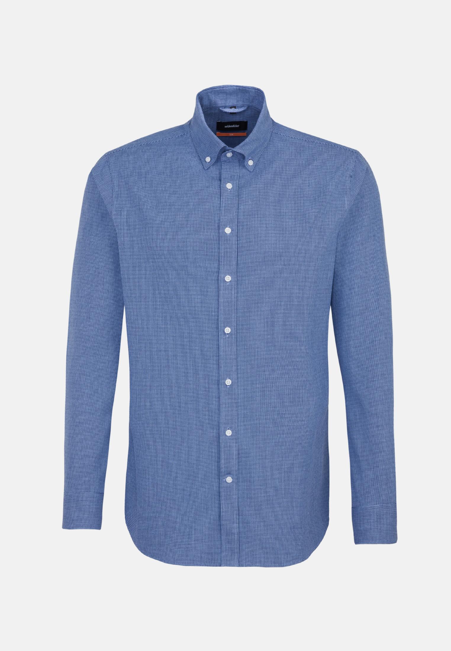 Poplin Business Shirt in Slim with Button-Down-Collar in Dark blue |  Seidensticker Onlineshop