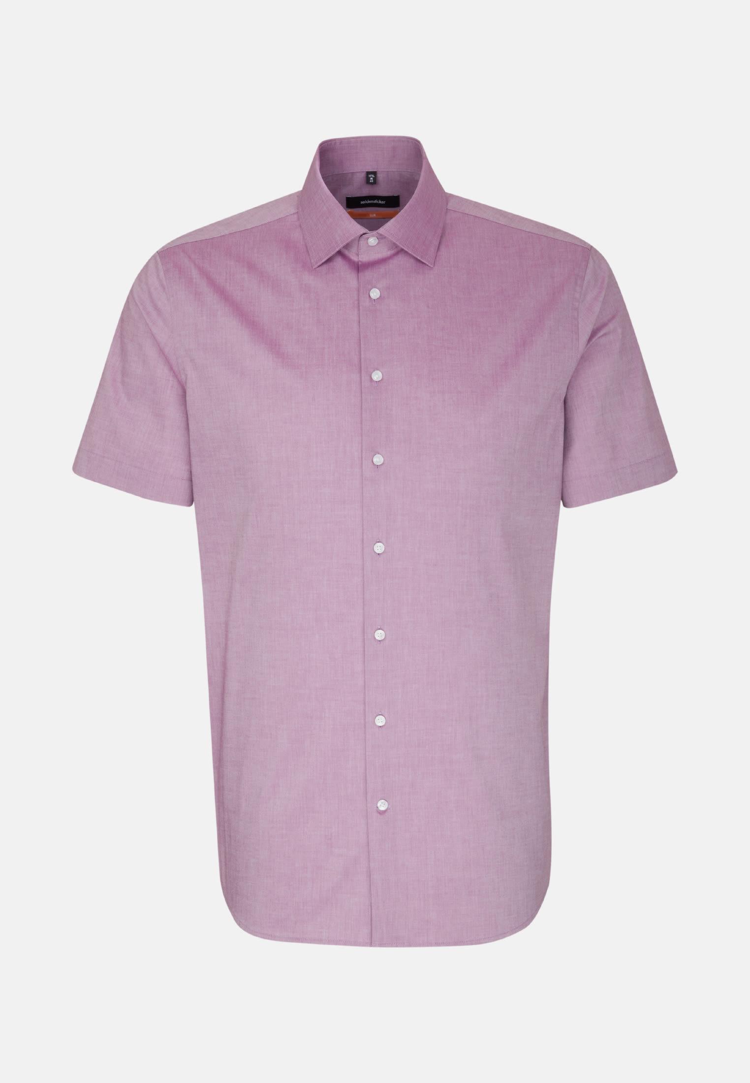 Bügelfreies Chambray Kurzarm Business Hemd in Slim mit Kentkragen in Lila    Seidensticker Onlineshop