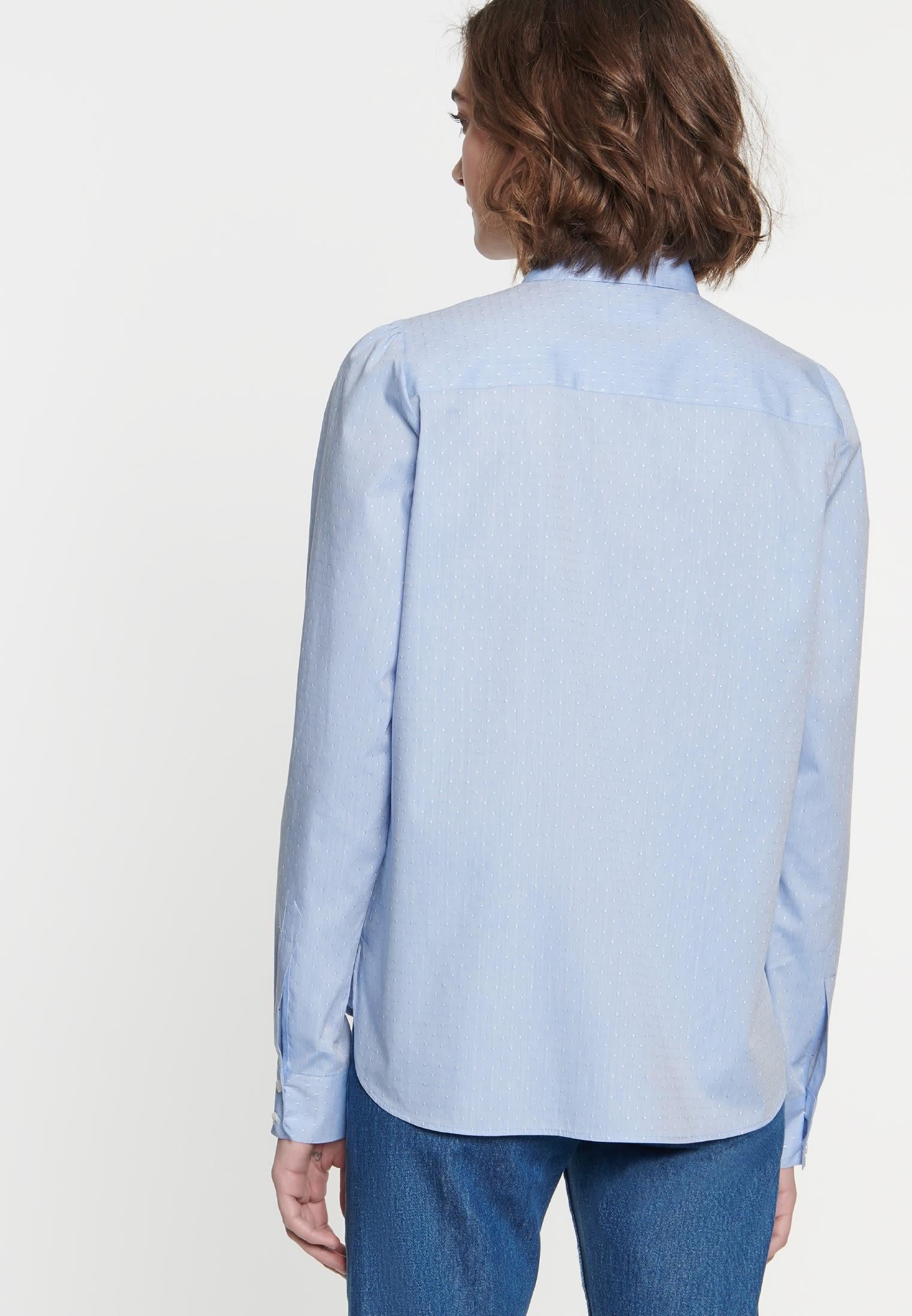 Jacquard Hemdbluse aus 100% Baumwolle in Hellblau |  Seidensticker Onlineshop