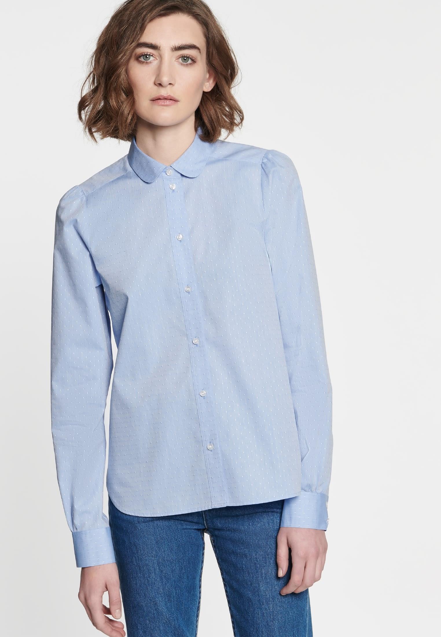 Jacquard Shirt Blouse made of 100% Cotton in hellblau    Seidensticker Onlineshop
