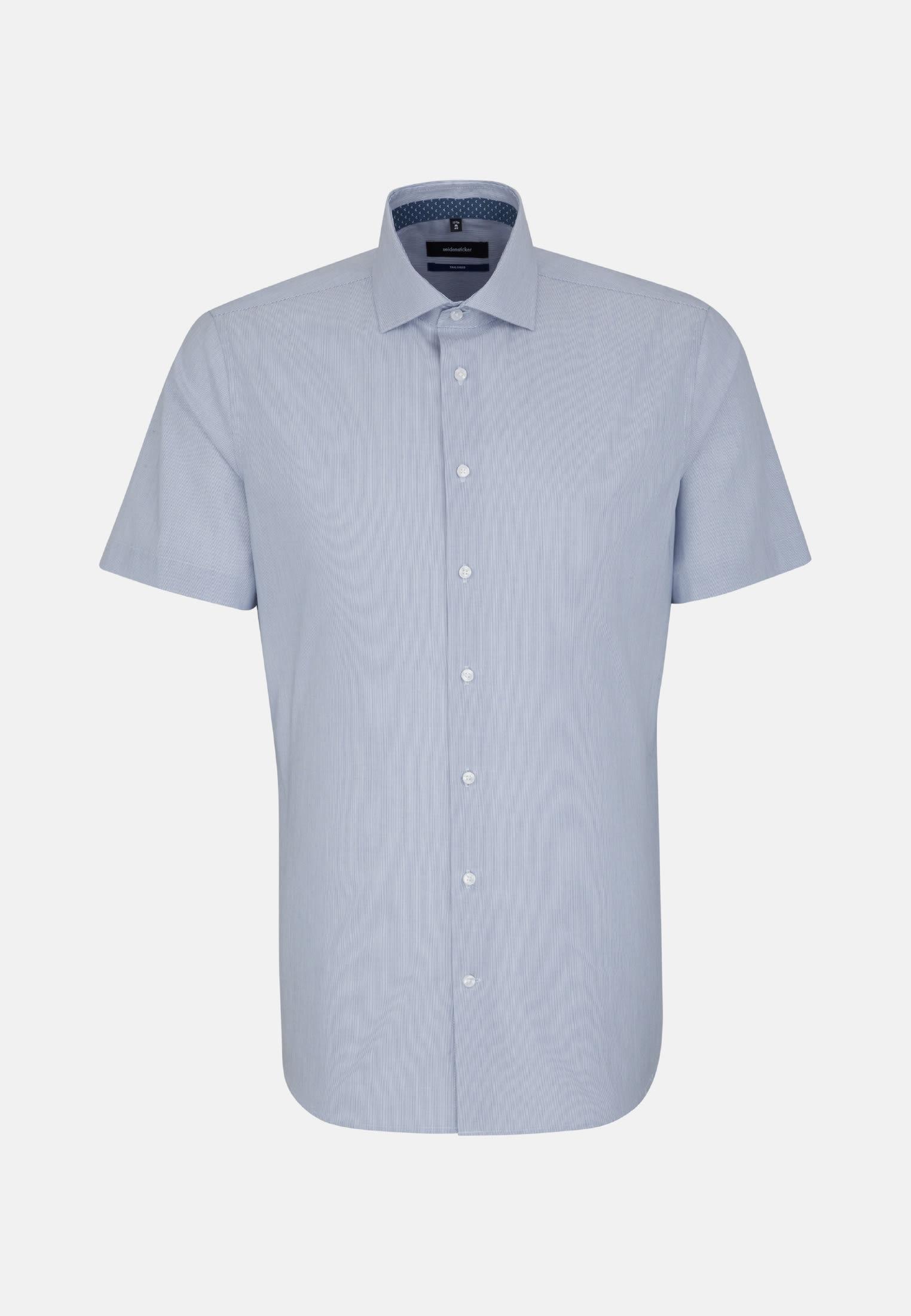 Bügelfreies Popeline Kurzarm Business Hemd in Tailored mit Kentkragen in Mittelblau |  Seidensticker Onlineshop