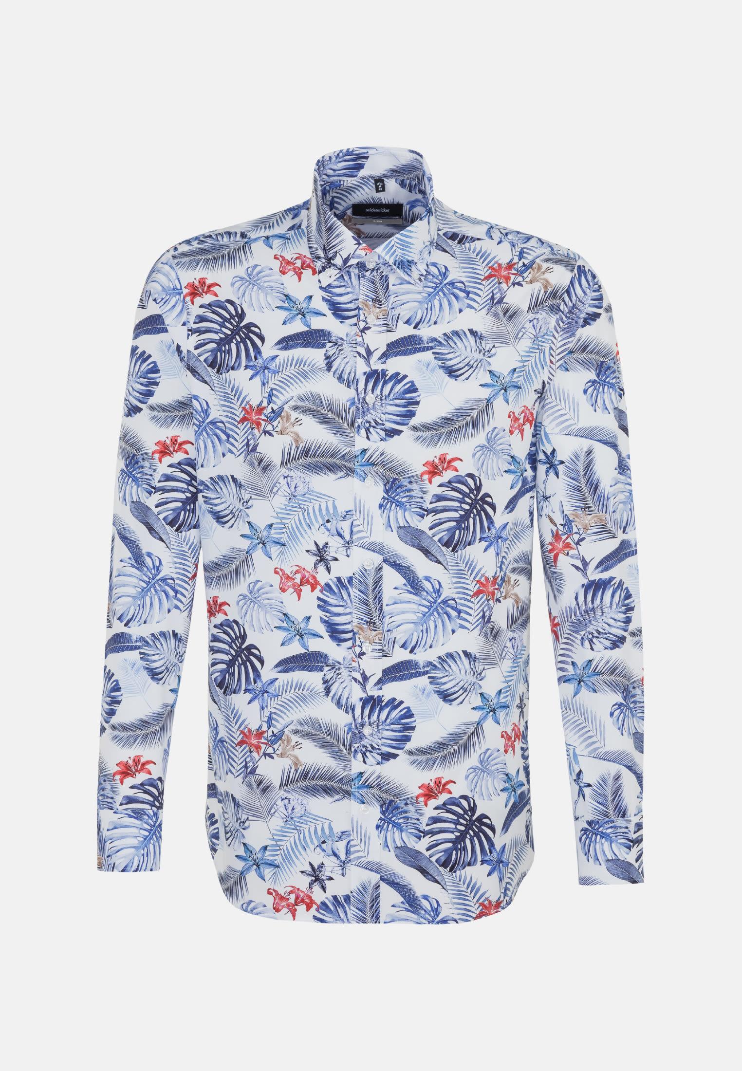 Bügelleichtes Popeline Business Hemd in X-Slim mit Button-Down-Kragen in Mittelblau |  Seidensticker Onlineshop