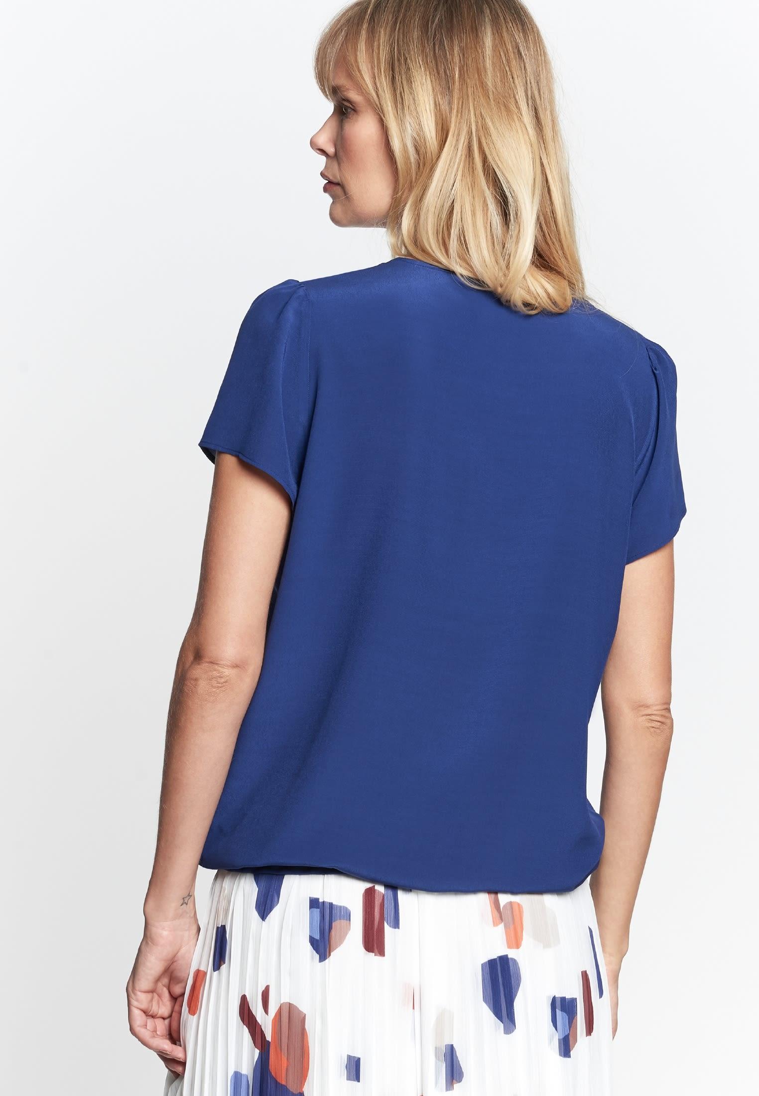 Short sleeve Crepe Shirt Blouse made of 100% Viscose in Medium blue |  Seidensticker Onlineshop