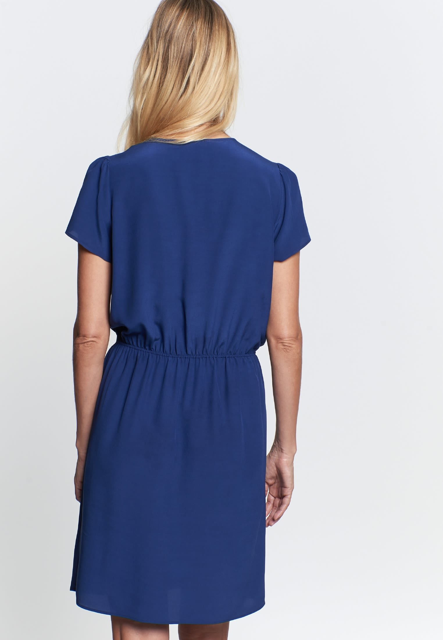 Crepe Midi Dress made of 100% Viscose in Medium blue |  Seidensticker Onlineshop