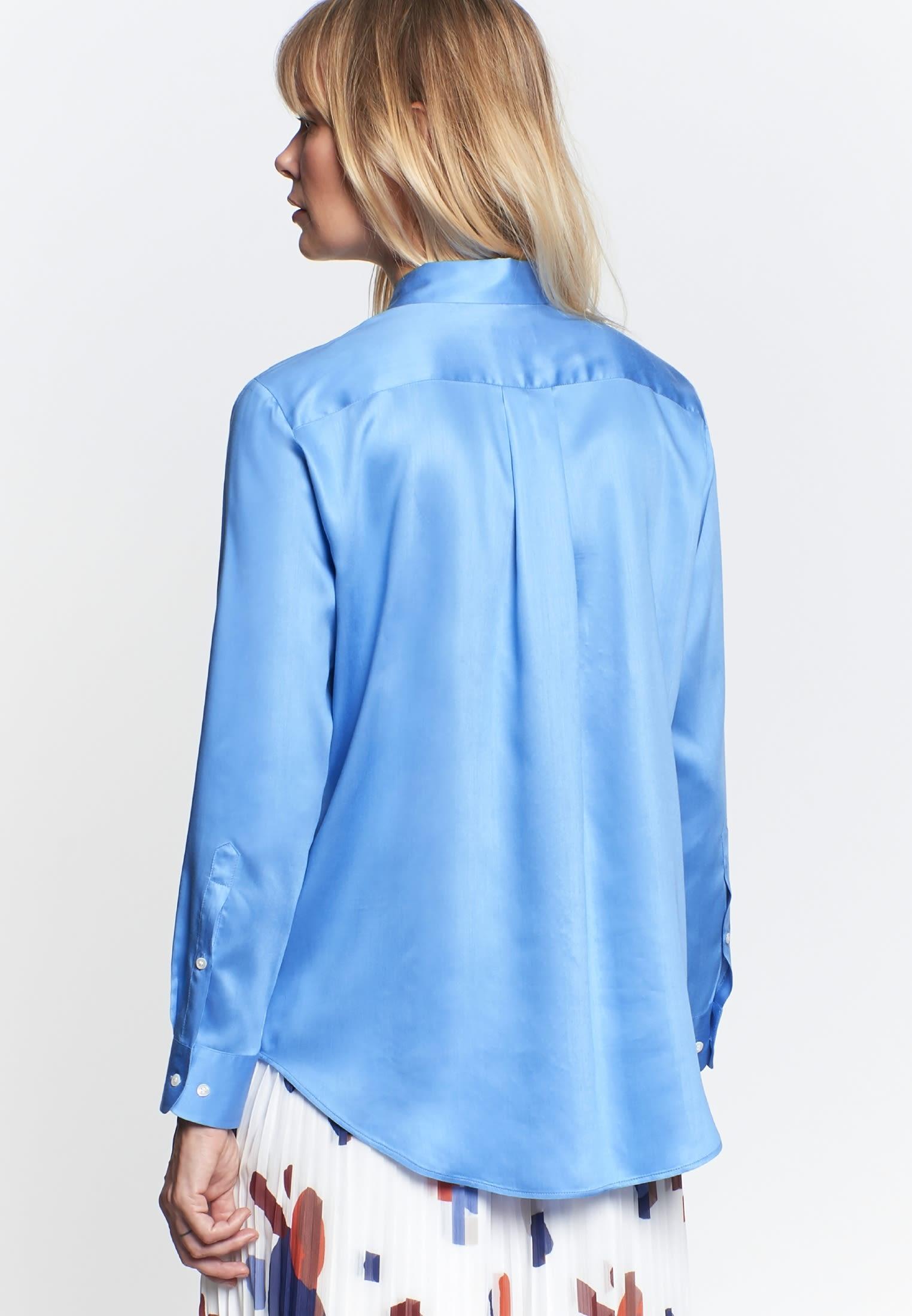 Popeline Hemdbluse aus 100% Viskose in Mittelblau |  Seidensticker Onlineshop