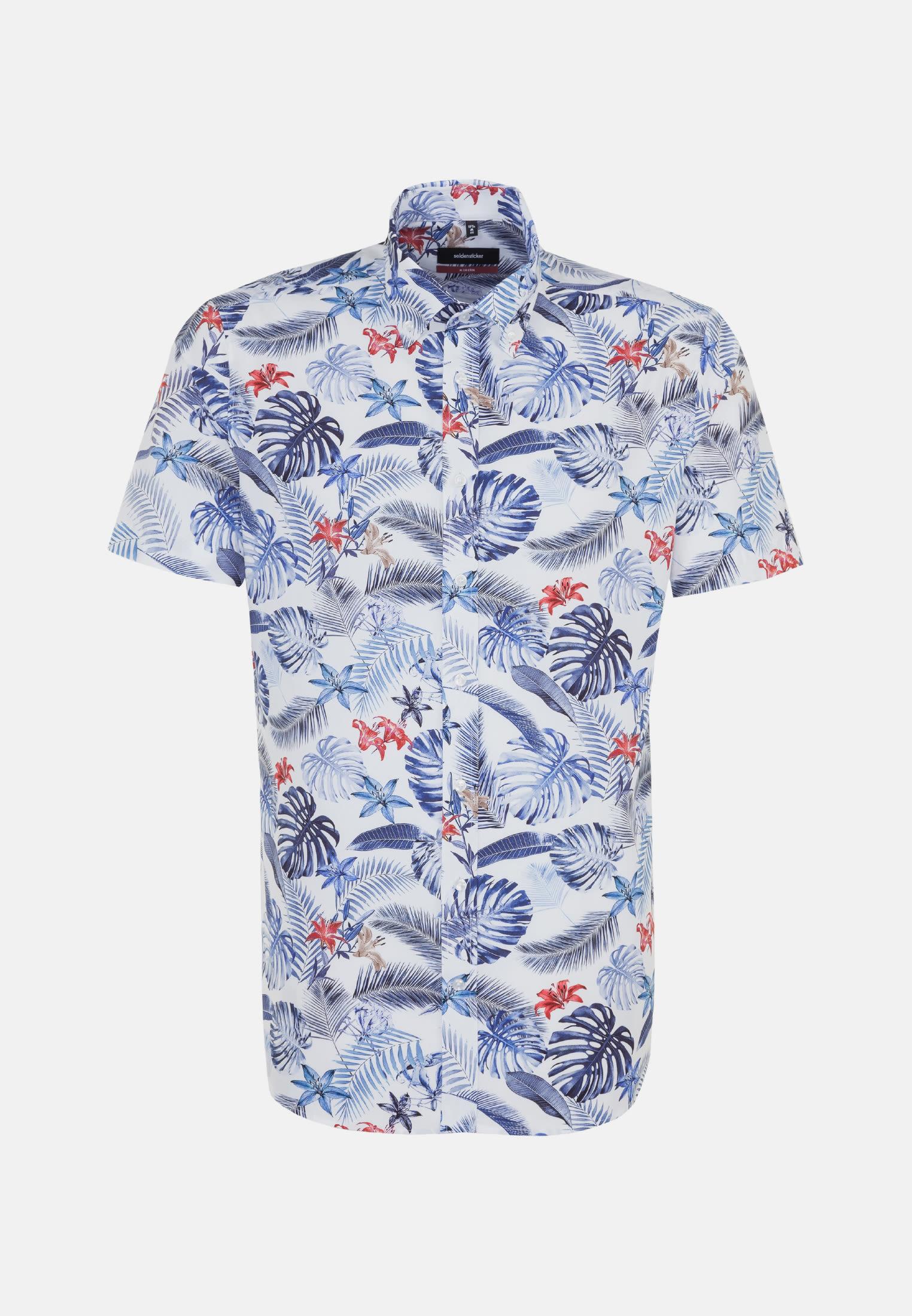 Easy-iron Poplin Short arm Business Shirt in Modern with Button-Down-Collar in Medium blue |  Seidensticker Onlineshop