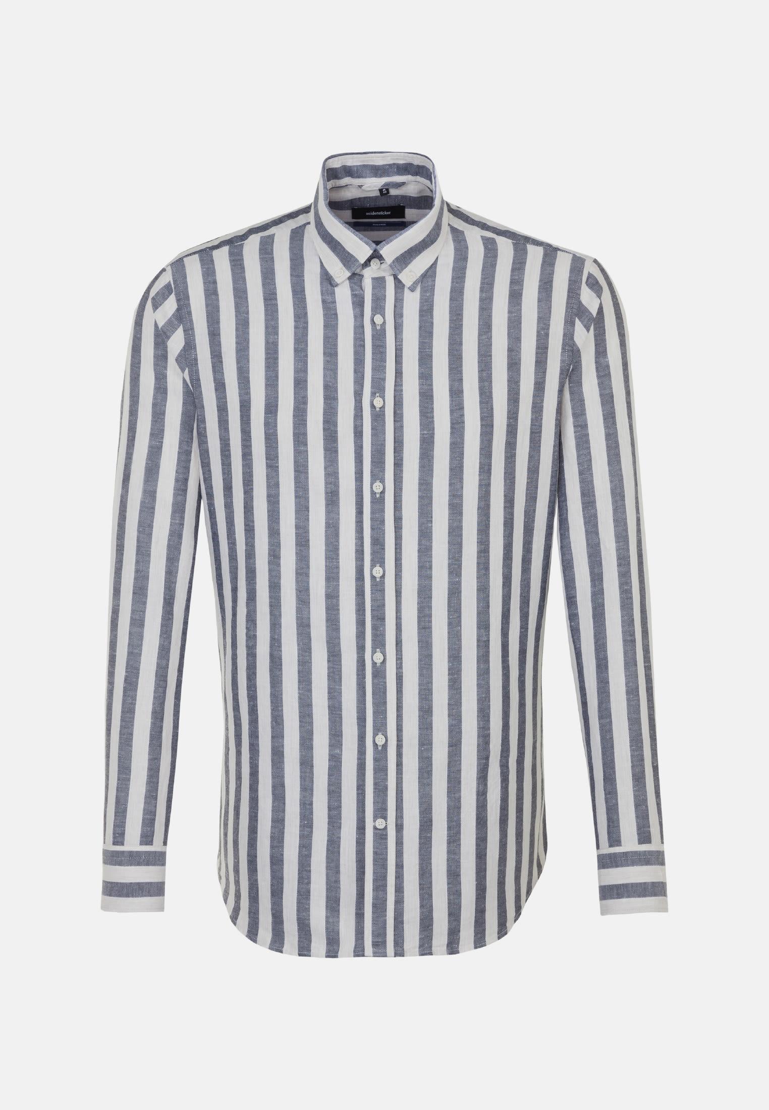 Melange yarns Business Shirt in Shaped with Button-Down-Collar in Dark blue |  Seidensticker Onlineshop