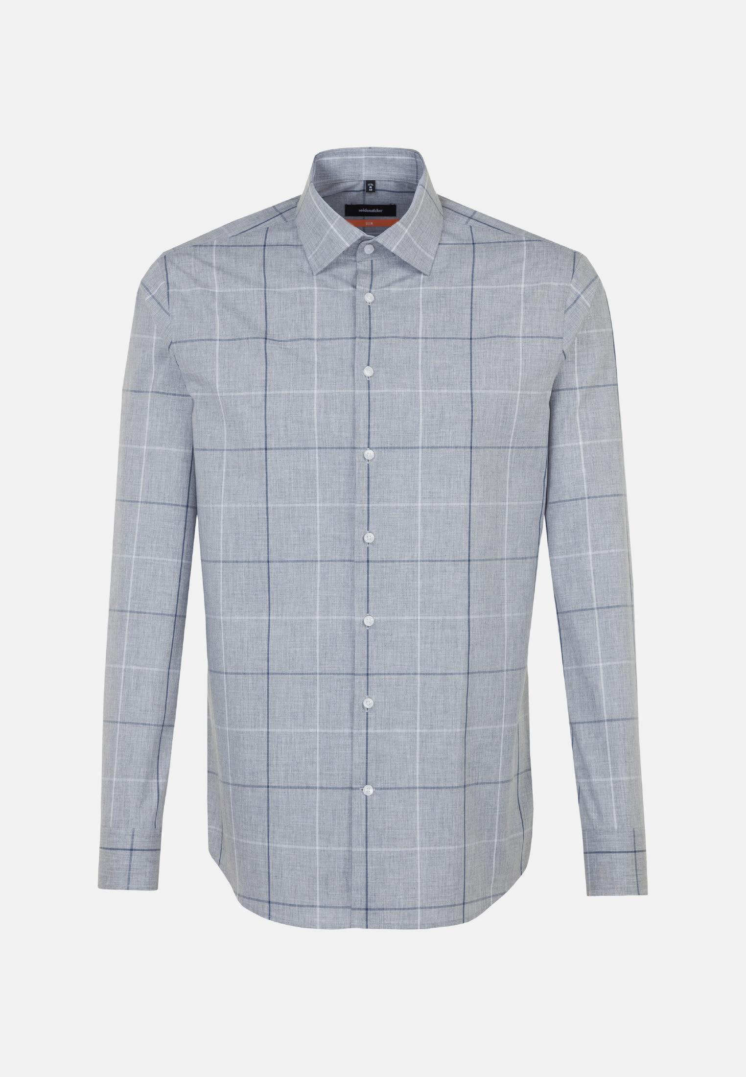 Easy-iron Melange yarns Business Shirt in Slim with Kent-Collar in Grey |  Seidensticker Onlineshop