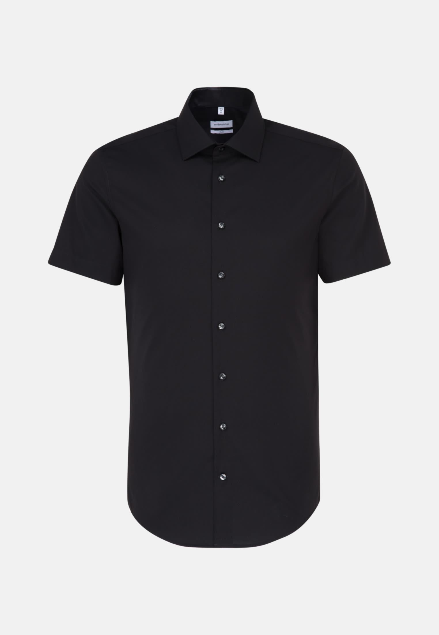 Non-iron Poplin Short sleeve Business Shirt in Slim with Kent-Collar in Black    Seidensticker Onlineshop