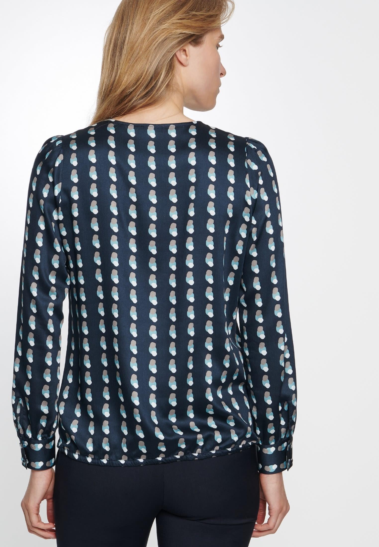 Satin Shirtbluse aus 100% Viskose in Dunkelblau |  Seidensticker Onlineshop