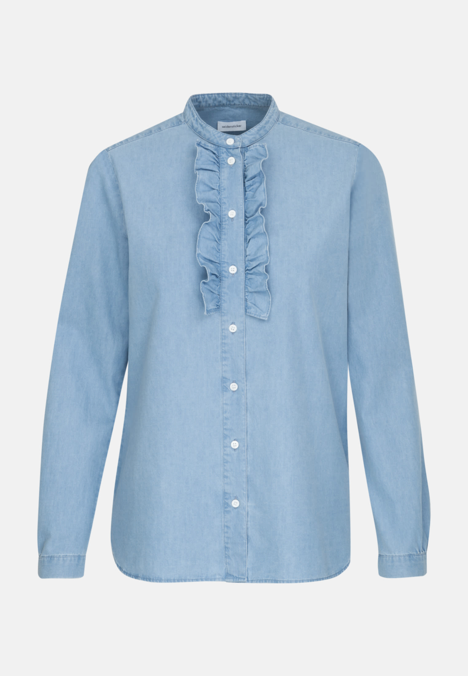 Denim Stand-Up Blouse made of 100% Cotton in Medium blue |  Seidensticker Onlineshop