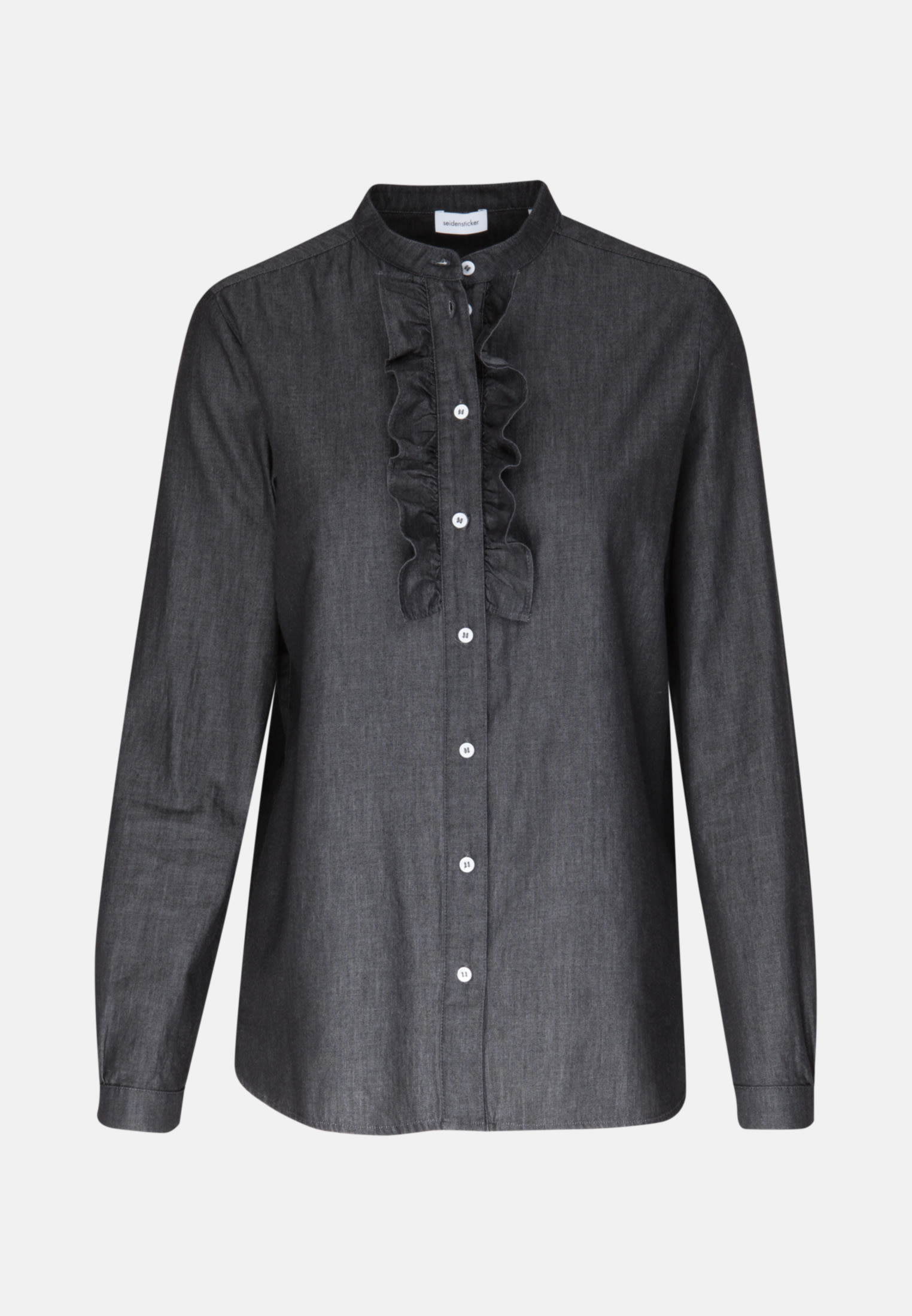Denim Stand-Up Blouse made of 100% Cotton in Grey    Seidensticker Onlineshop