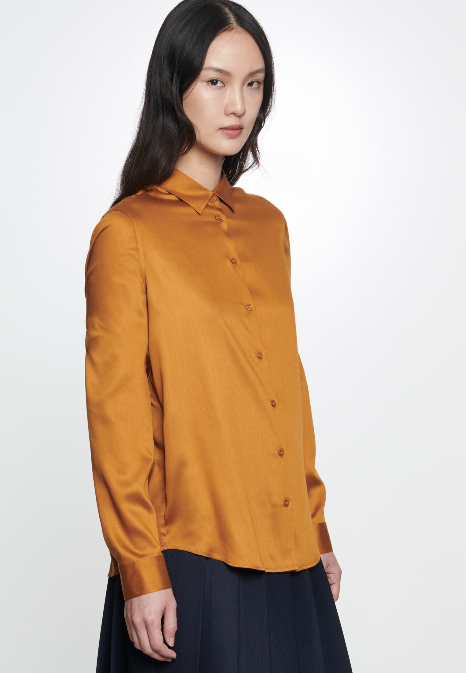 Satin Hemdbluse aus 100% Viskose in Orange    Seidensticker Onlineshop