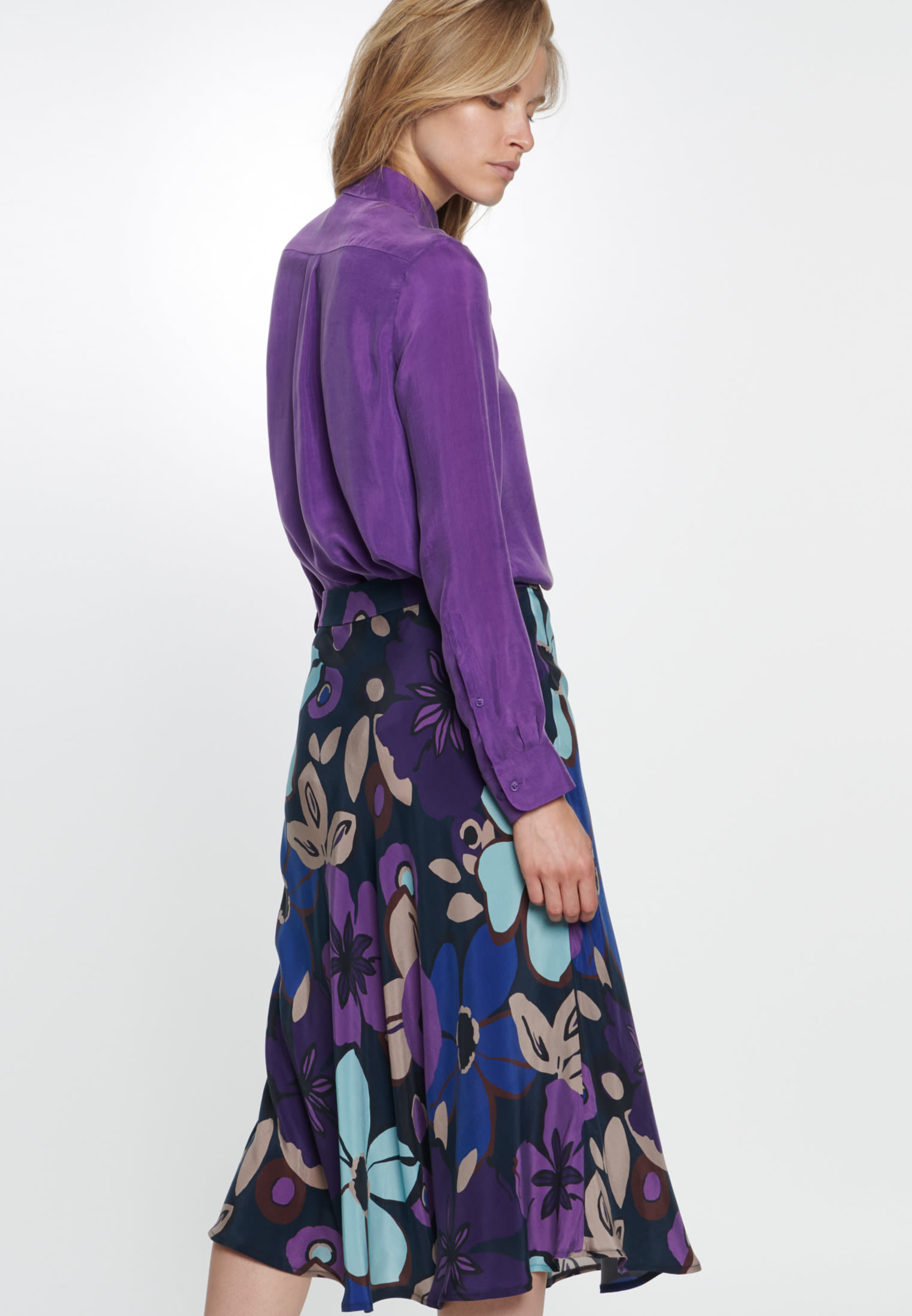 Midi Skirt made of 100% Cupro in Dark blue |  Seidensticker Onlineshop