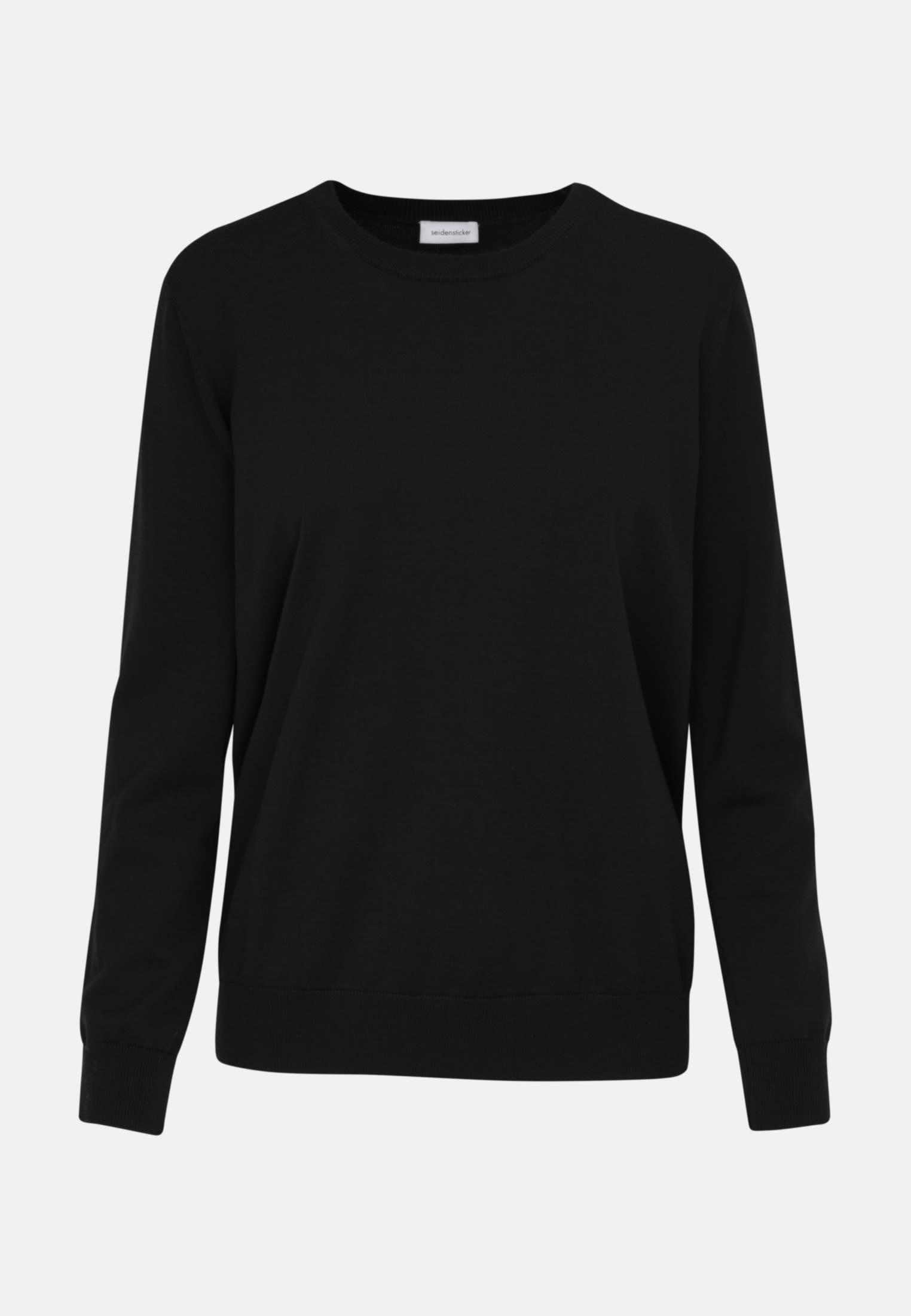 Rundhals Pullover aus 100% Wolle in Schwarz |  Seidensticker Onlineshop