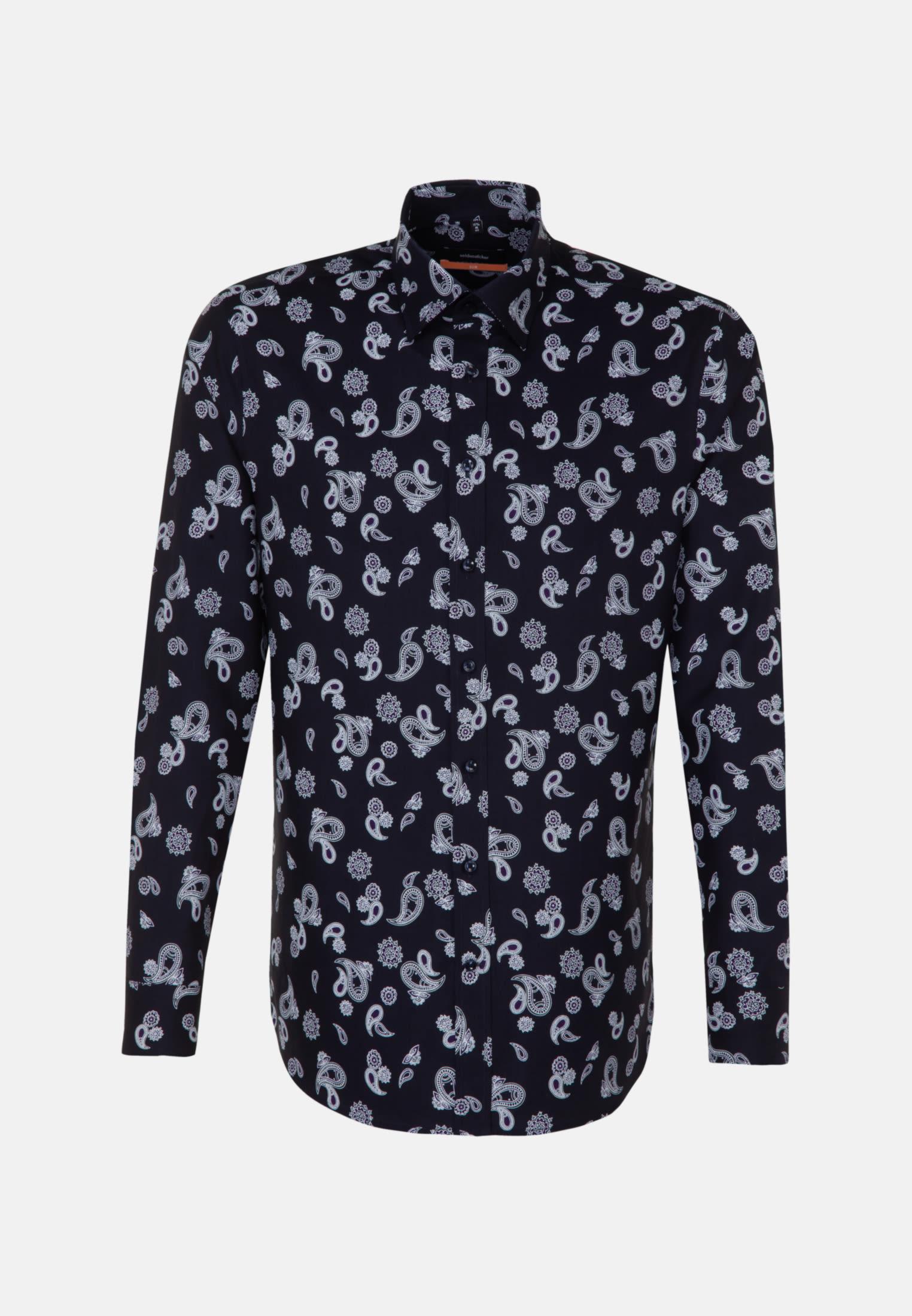 Easy-iron Twill Business Shirt in Slim with Covered-Button-Down-Collar in Dark blue |  Seidensticker Onlineshop