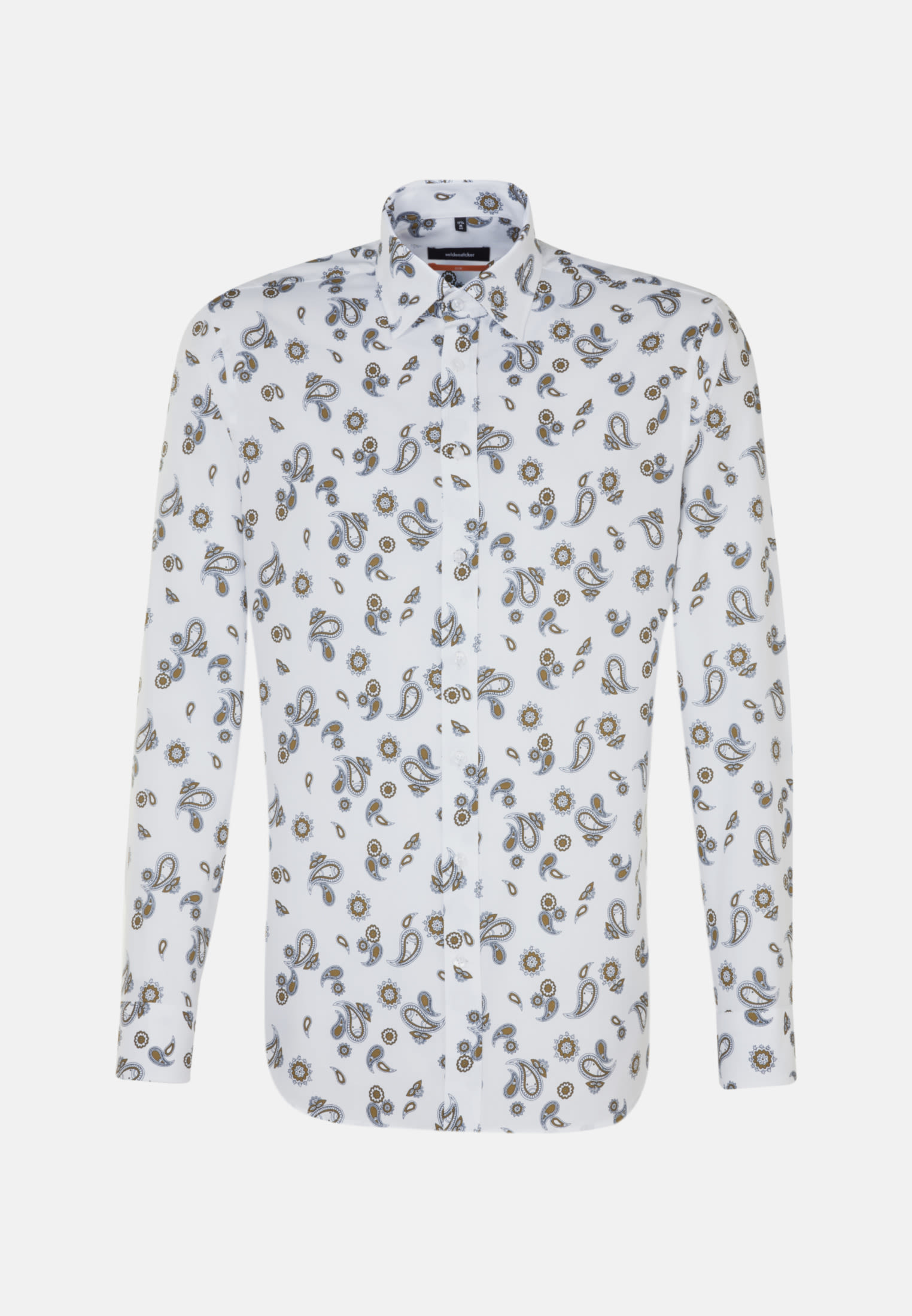 Bügelleichtes Twill Business Hemd in Slim mit Covered-Button-Down-Kragen in Weiß |  Seidensticker Onlineshop